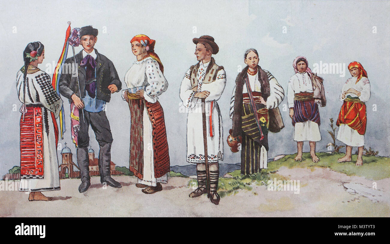 Fashion, clothes, folk costumes in Romania, from the left, a Romanian peasant woman from Wallachia in summer dress, Stock Photo