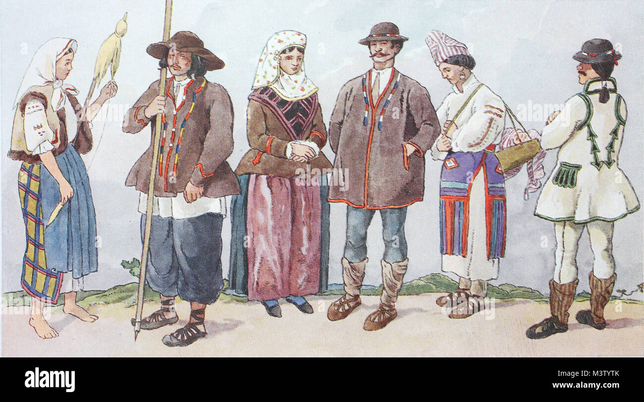 Fashion, clothes, folk costumes in Romania, from the left, a woman from the Marmaros, Carpathians, a raft on the - Stock Image