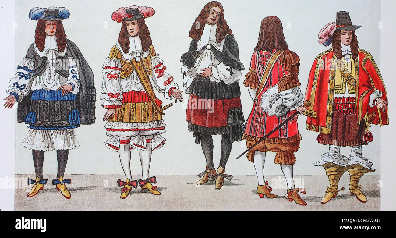 Fashion clothing in France at the time of Louis XIV from left King Louis XIV around 1660 the same around 1670 then distinguished gentlemen around 1664 ...  sc 1 st  Alamy & Fashion clothing in France at the time of Louis XIV from left ...