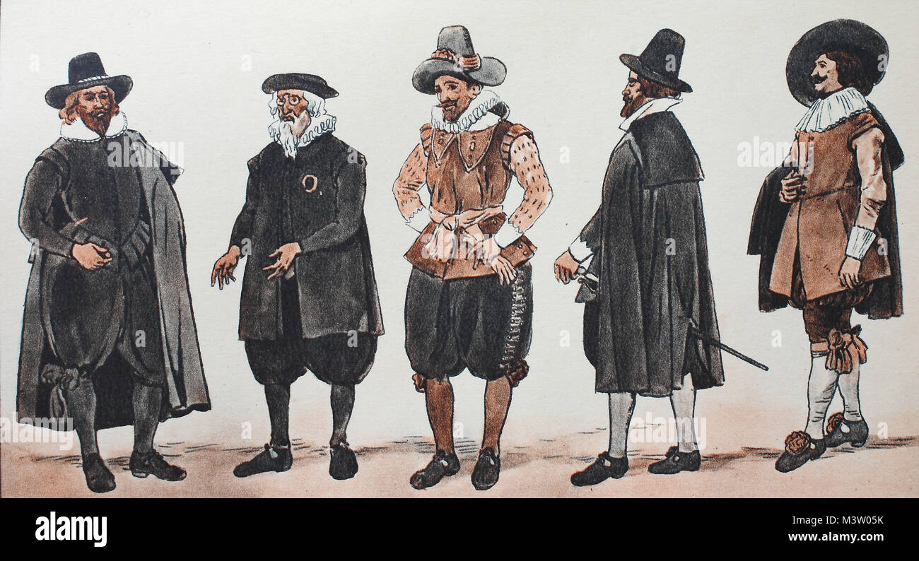 Fashion, clothes in Germany, civic costumes circa 1625-1635, from the left, merchant from the Nuremberg, then a - Stock Image
