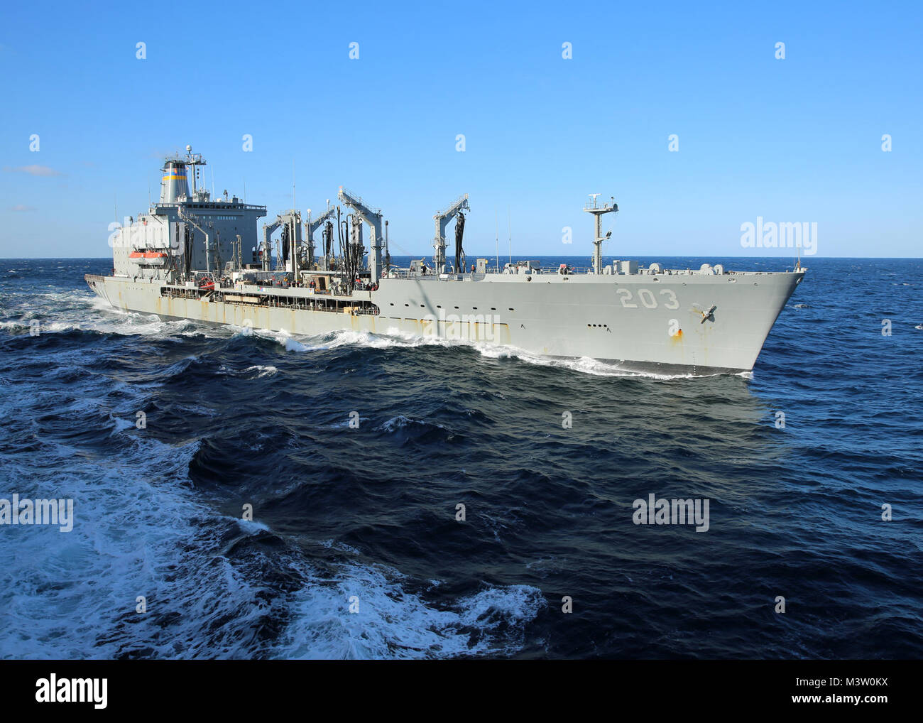 170323-N-OH262-991  ATLANTIC OCEAN (March 23, 2017) The Military Sealift Command fleet replenishment oiler USNS - Stock Image