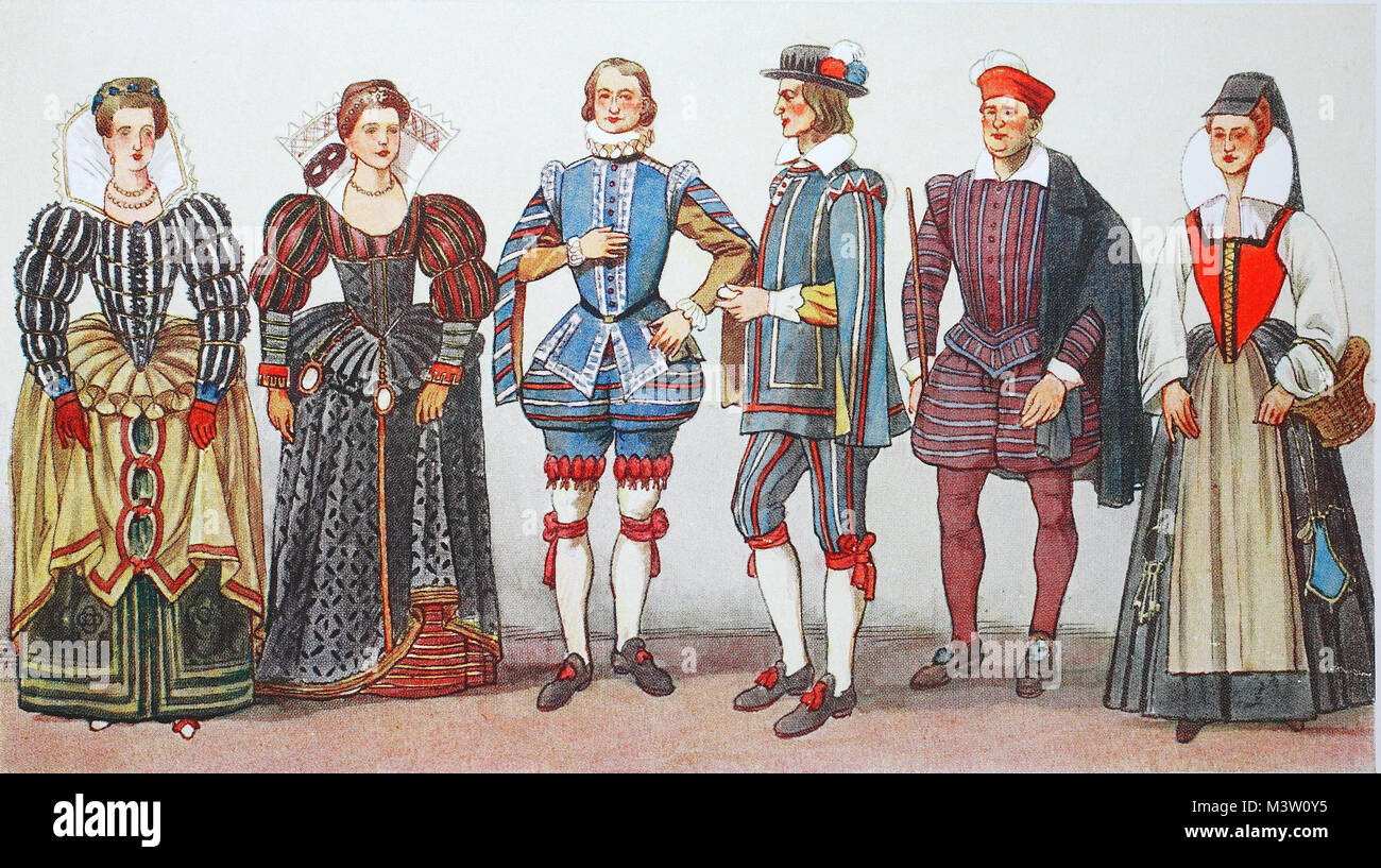 Fashion, costumes, clothing in France at the time of Spanish fashion and Henry III. around 1575-1590, noble ladies - Stock Image
