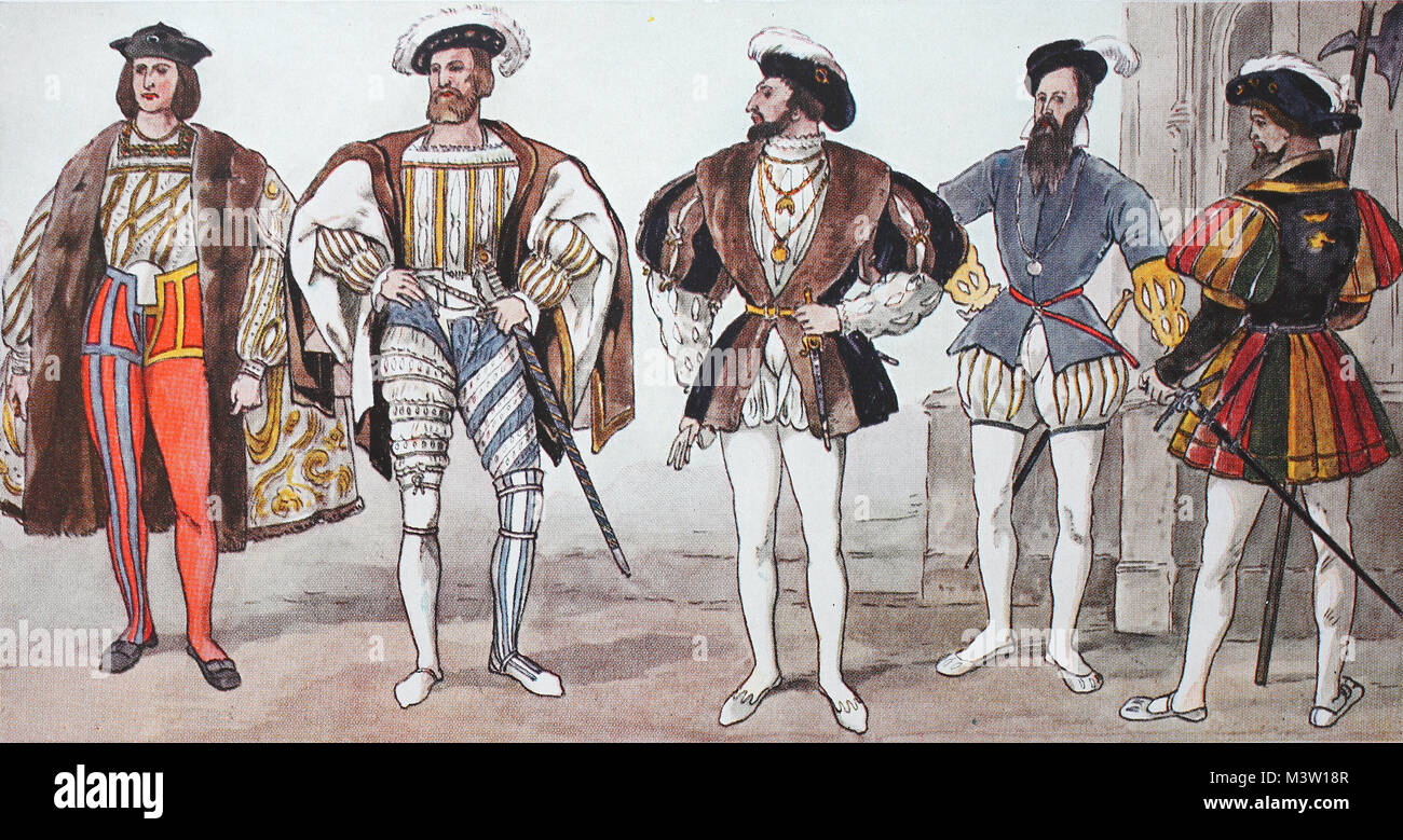 Clothing, fashion in France at the time of the Renaissance around 1500-1575, from the left, French court dress around - Stock Image