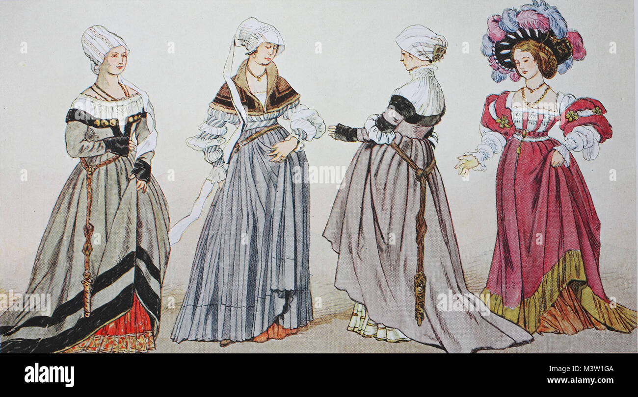 Clothing, fashion in Germany during the Reformation around 1500-1530, Basle citizen costumes around 1530, after - Stock Image