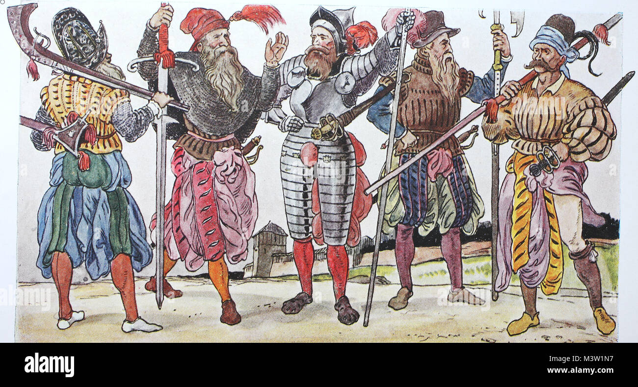 Clothing, fashion of the Landsknechts in Germany around 1520-1560, the  harem pants, from the left, a double mercenary with a hooked rifle, a  executioner, ...