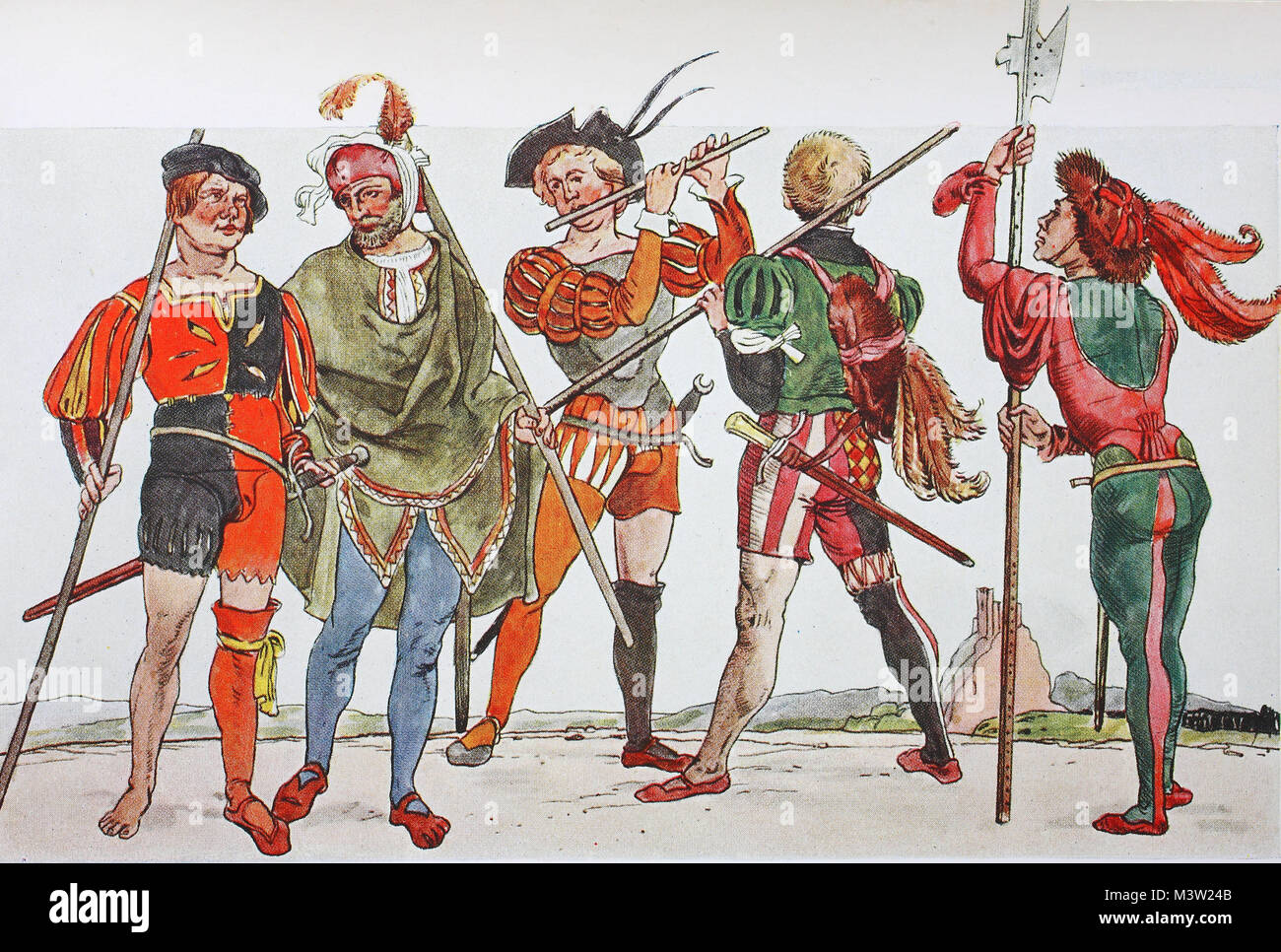 Clothing, fashion of the Landsknechts in Germany around 1500-1540, the slot uniform of the Landsknechts, the slot - Stock Image