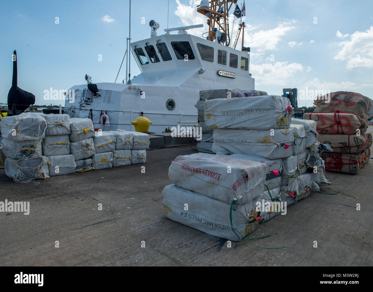 More than 3,825 pounds of cocaine await transfer to federal agents Wednesday, May 3, 2017 at Coast Guard Sector - Stock Image