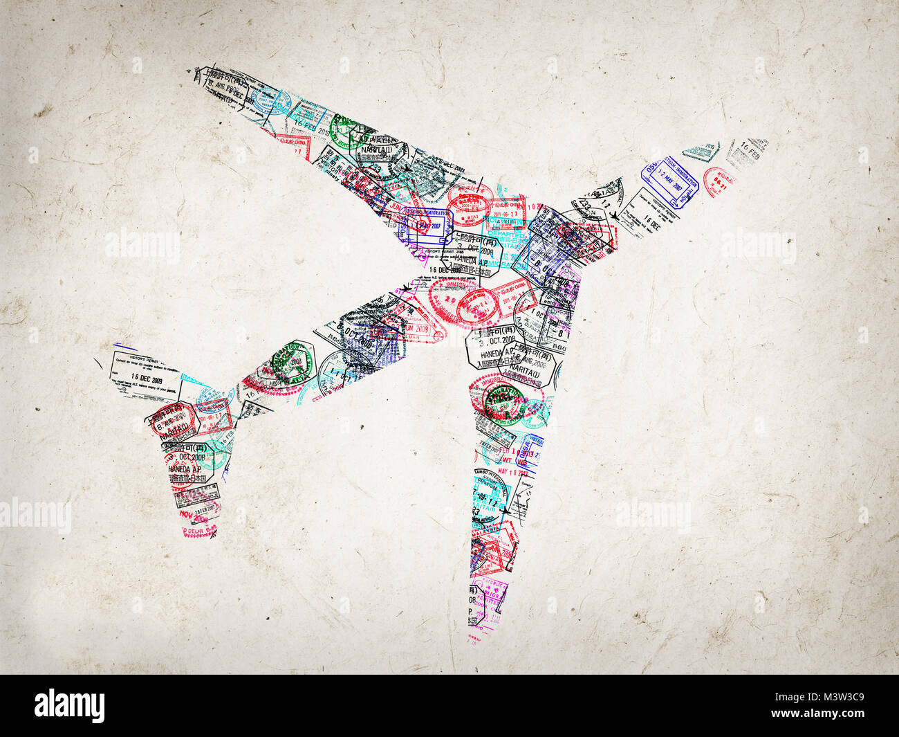 Silhouette of a plane created with passport stamps on textured background, travel concept - Stock Image