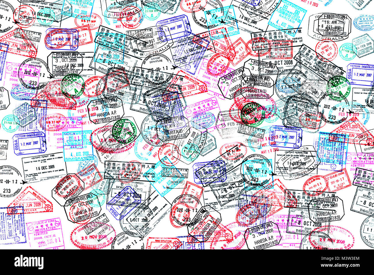 Background of passport stamps on white - Stock Image