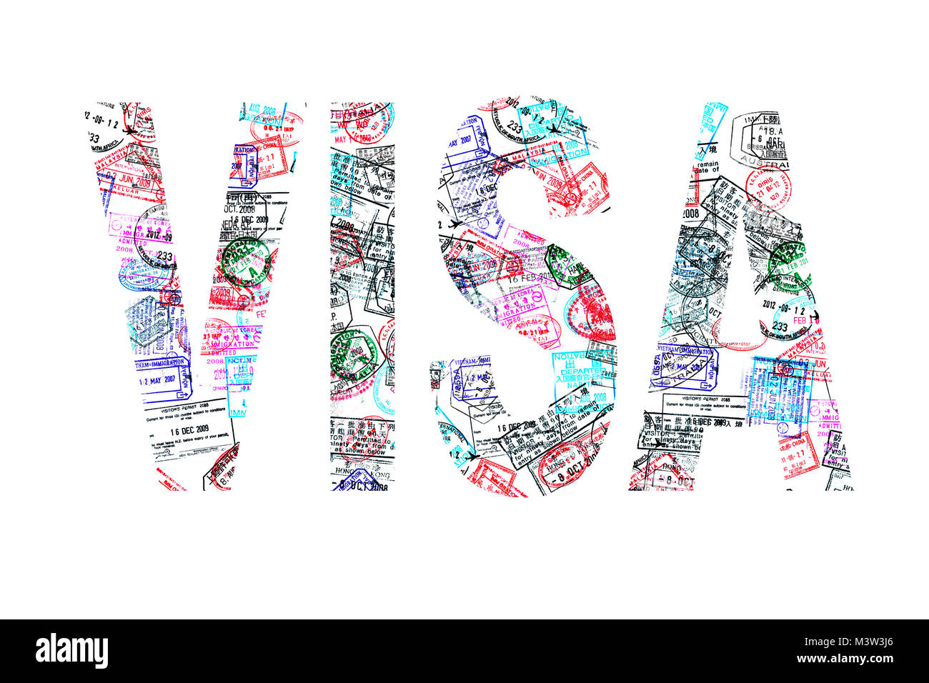Word visa created with passport stamps on white background, travel concept - Stock Image
