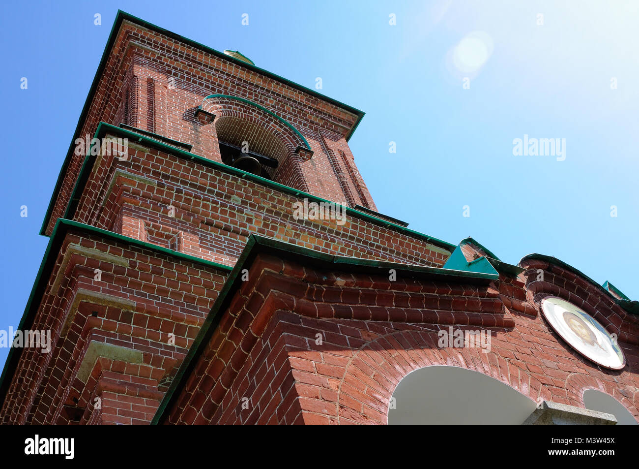 Russian Orthodox Temple of the Valaam Monastery, view from below - Stock Image