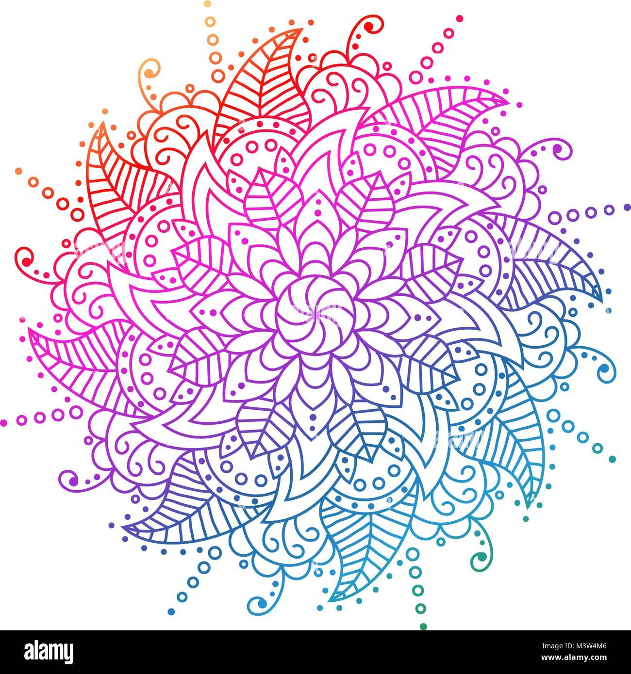 flower Mandala. decorative elements.  - Stock Image