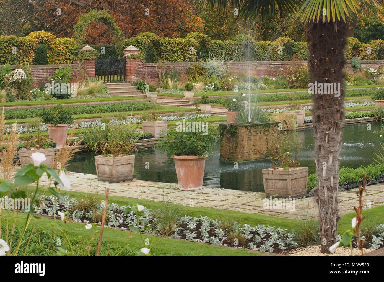 The walled, terraced, sunken garden at Kensington Palace, London Stock Photo