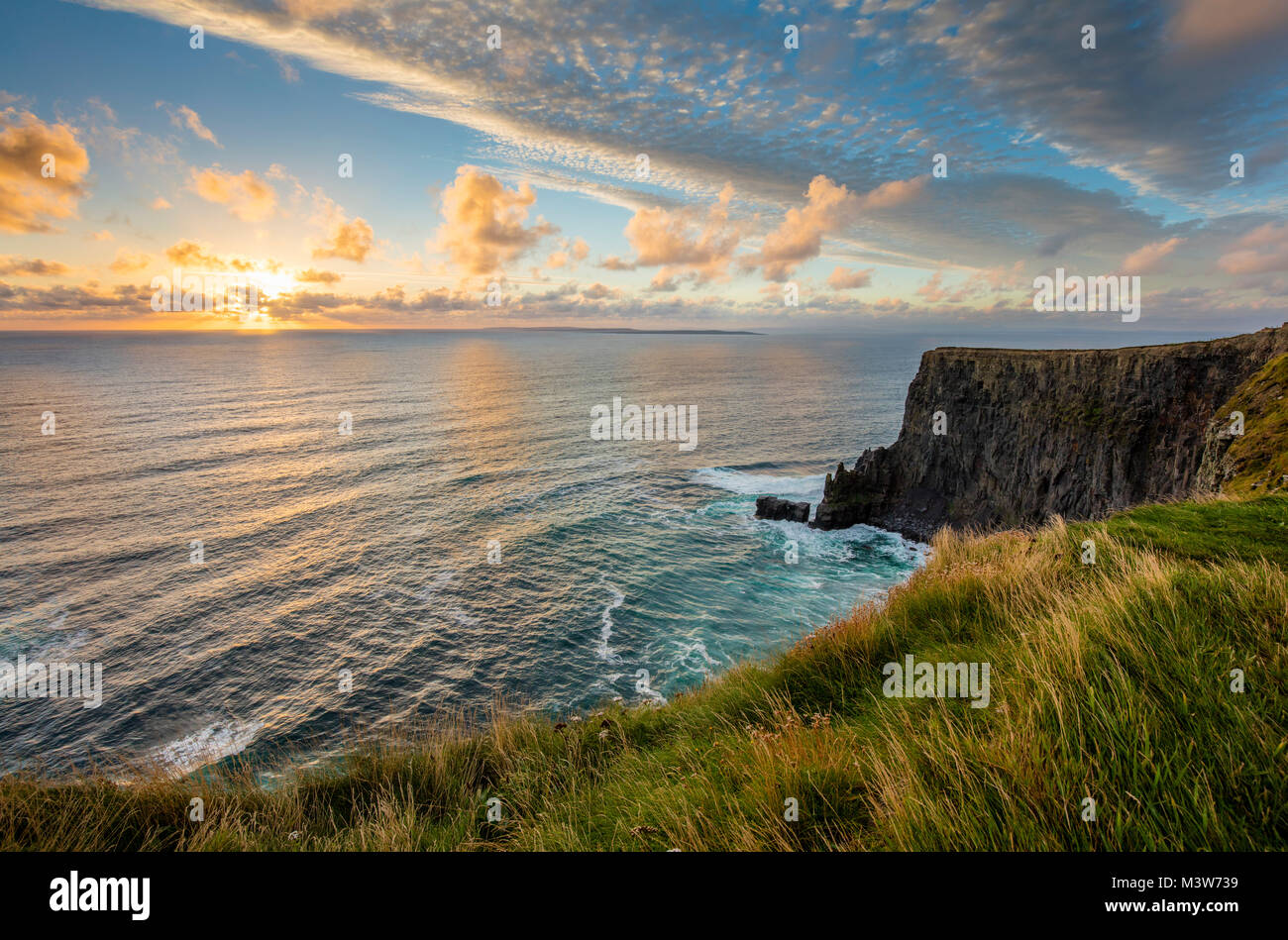 Evening at the Cliffs of Moher, County Clare, Ireland. - Stock Image