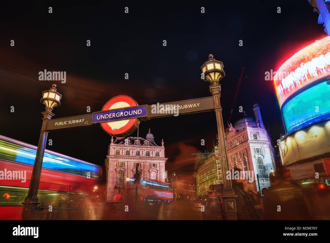 piccadilly circus at night taken in 2015 - Stock Image