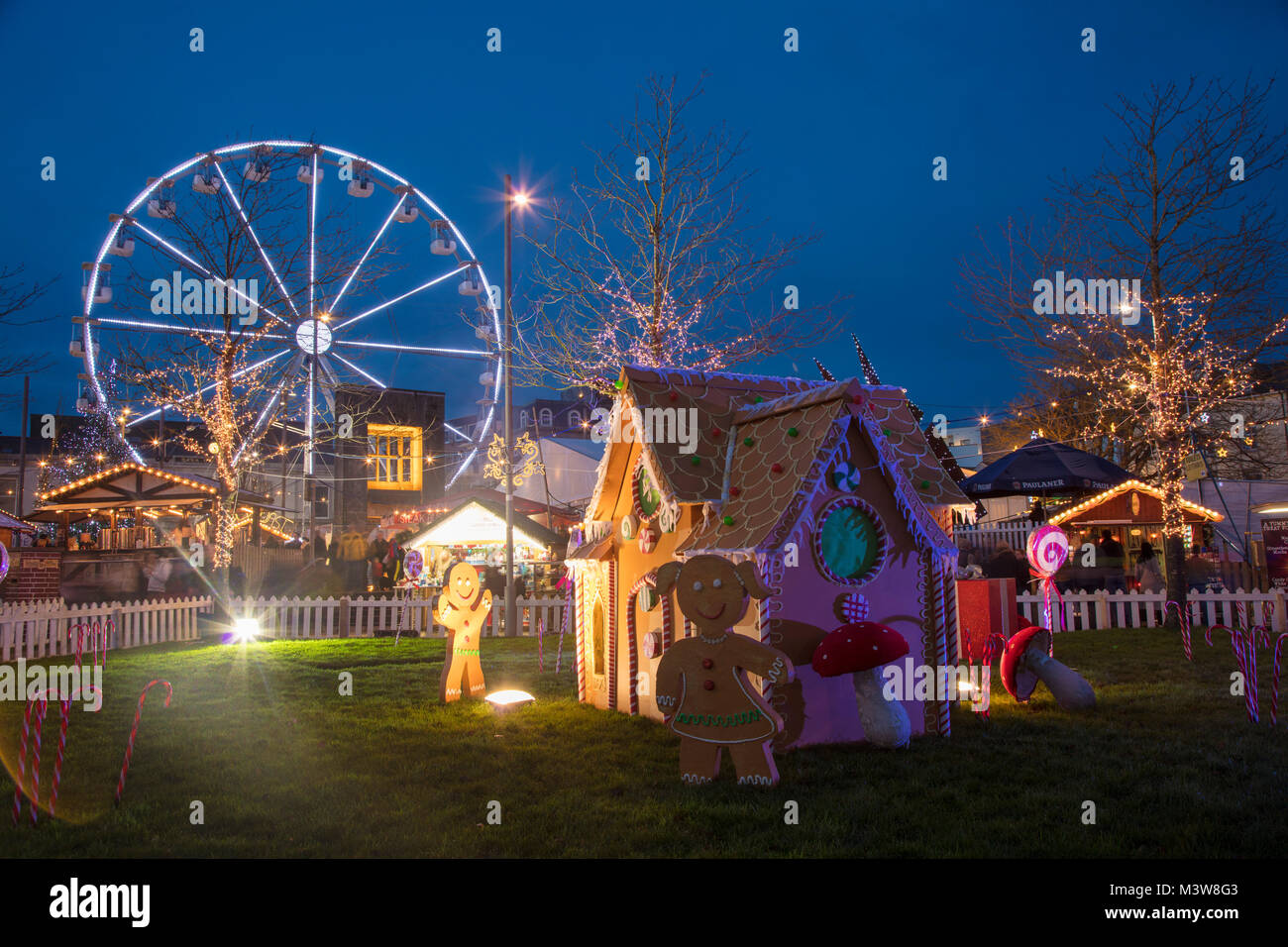 Christmas market and ferris wheel, Eyre Square, Galway city, County Galway, Ireland. - Stock Image