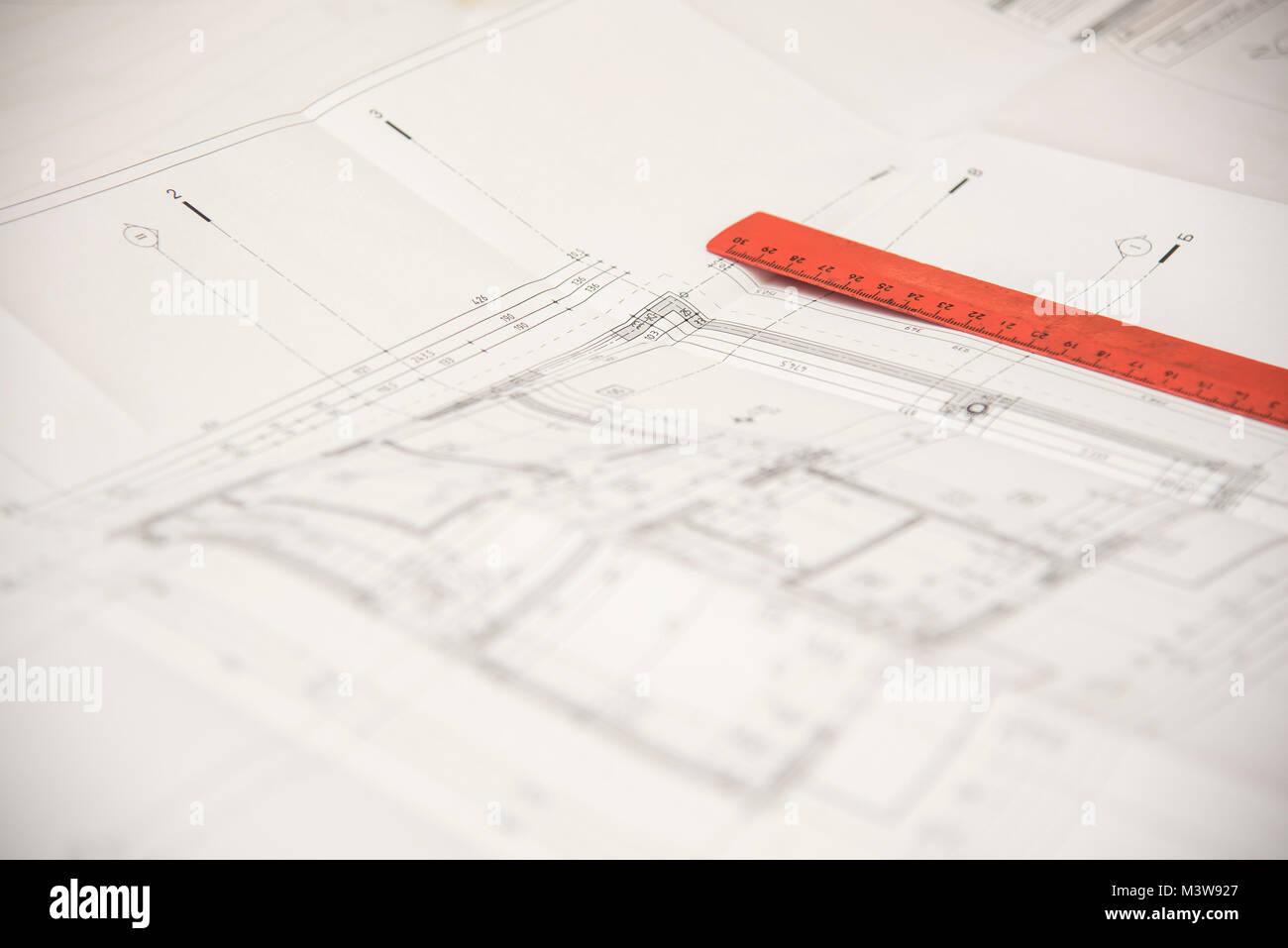 Build house draw blueprint stock photos build house draw blueprint building and construction blueprints stock image malvernweather Choice Image