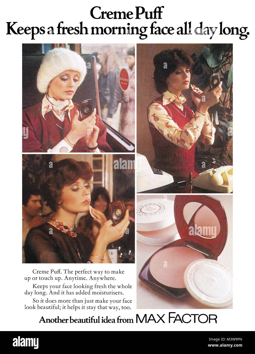 1974 British advertisement for Max Factor Creme Puff face powder. - Stock Image