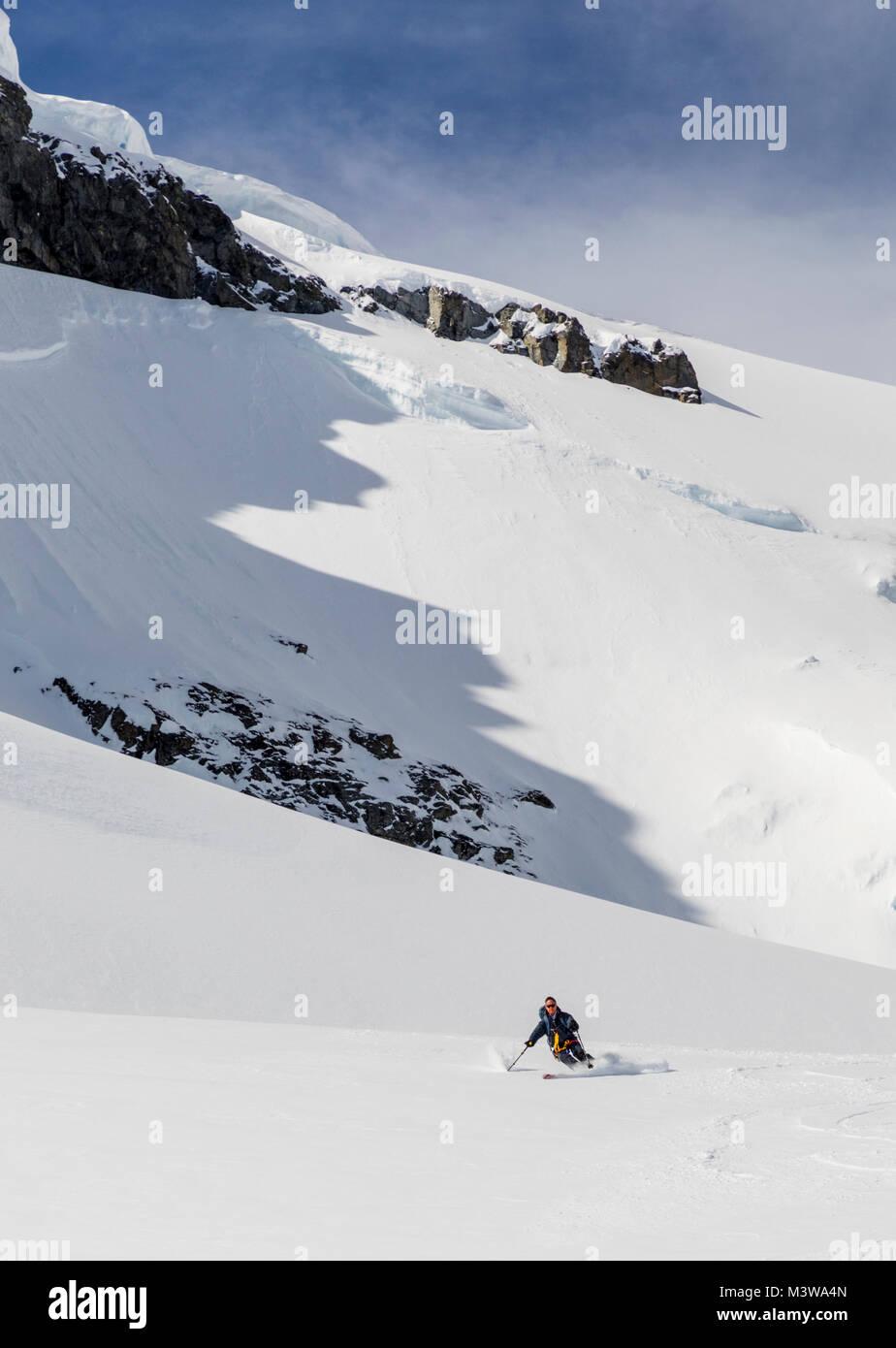 Alpine ski mountaineer skiing downhill in Antarctica; Rongé Island; Arctowski Peninsula Stock Photo