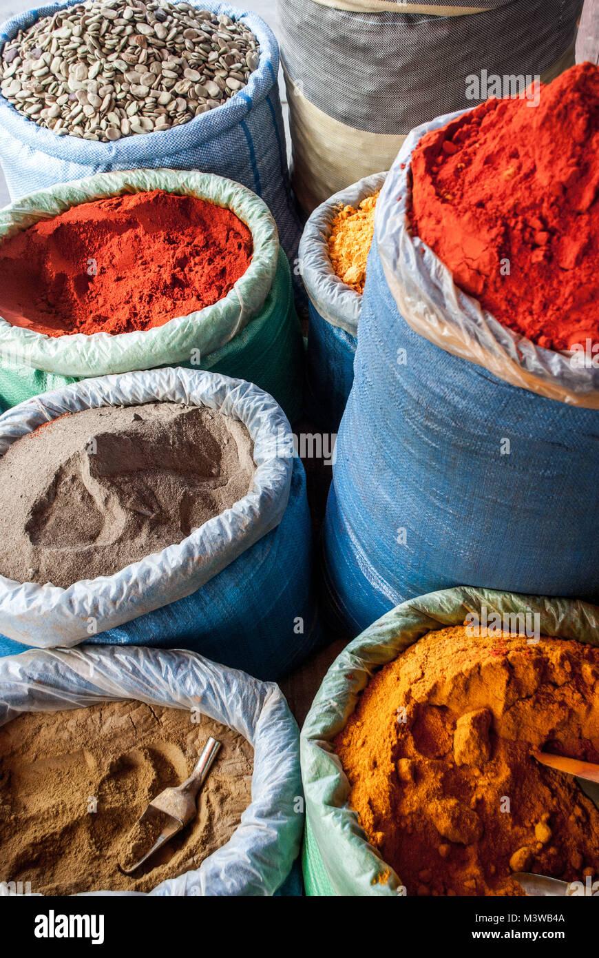 Sacks of multicolored spices in a store in La Paz, Bolivia - Stock Image