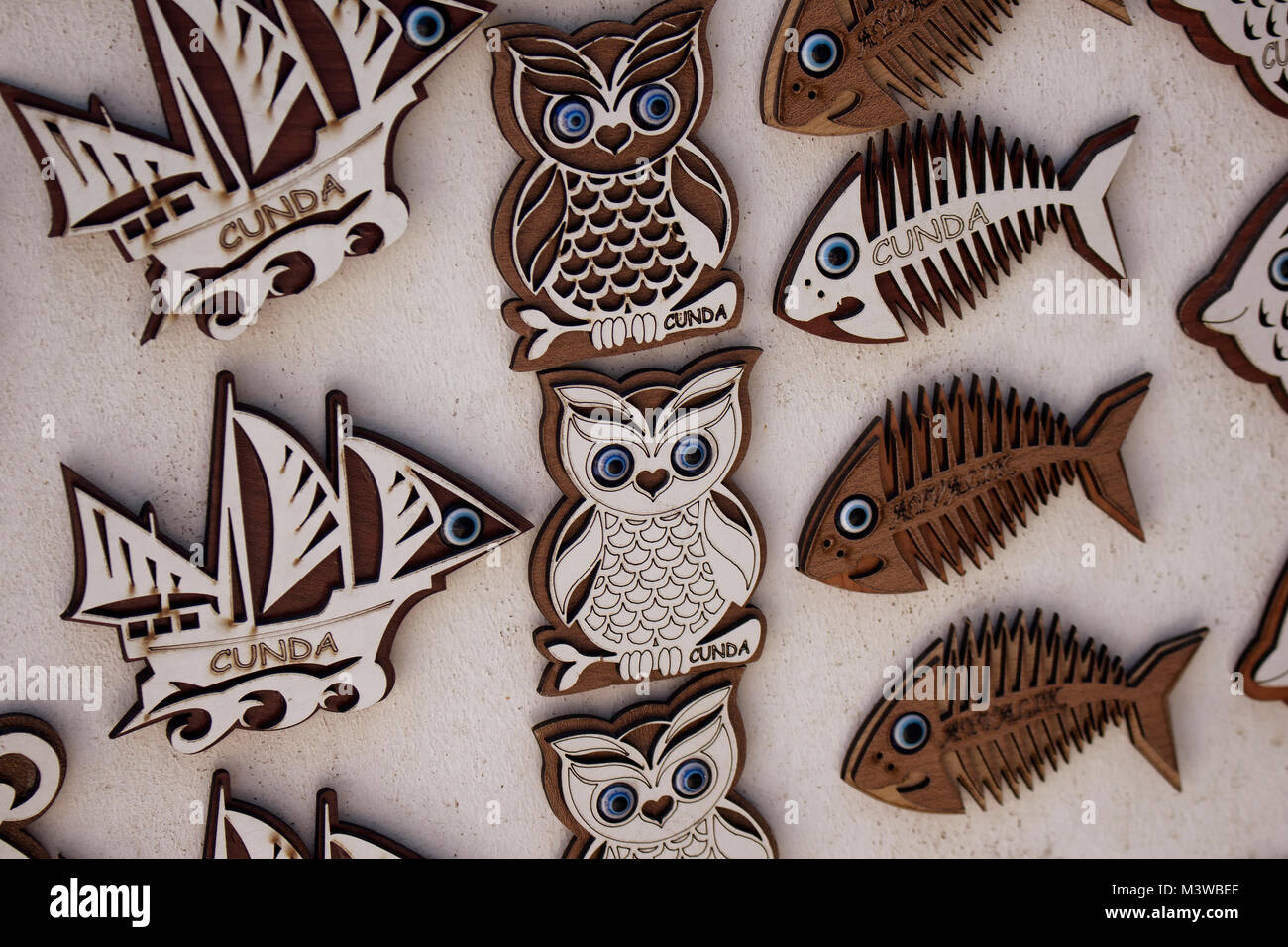 Close up view of wooden souvenirs of Cunda (Alibey) island. - Stock Image