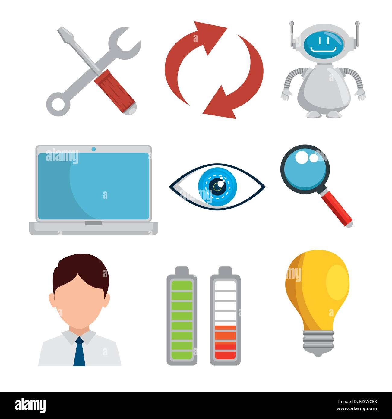 artificial inteligence technology set icons - Stock Image