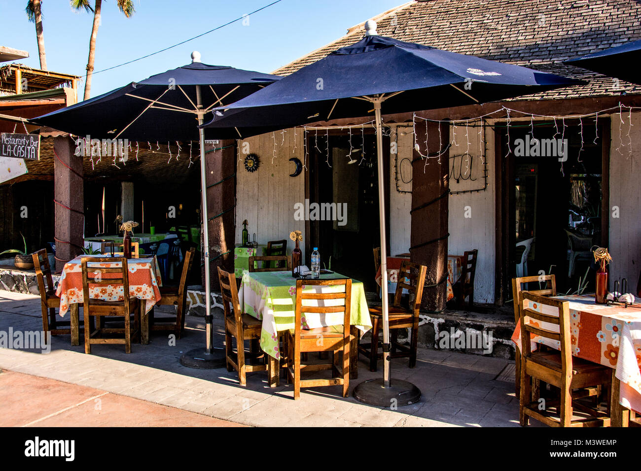 La Casista (meaning Little House) a Mexican restaurant about a quarter mile from the downtown area of Loreto. - Stock Image