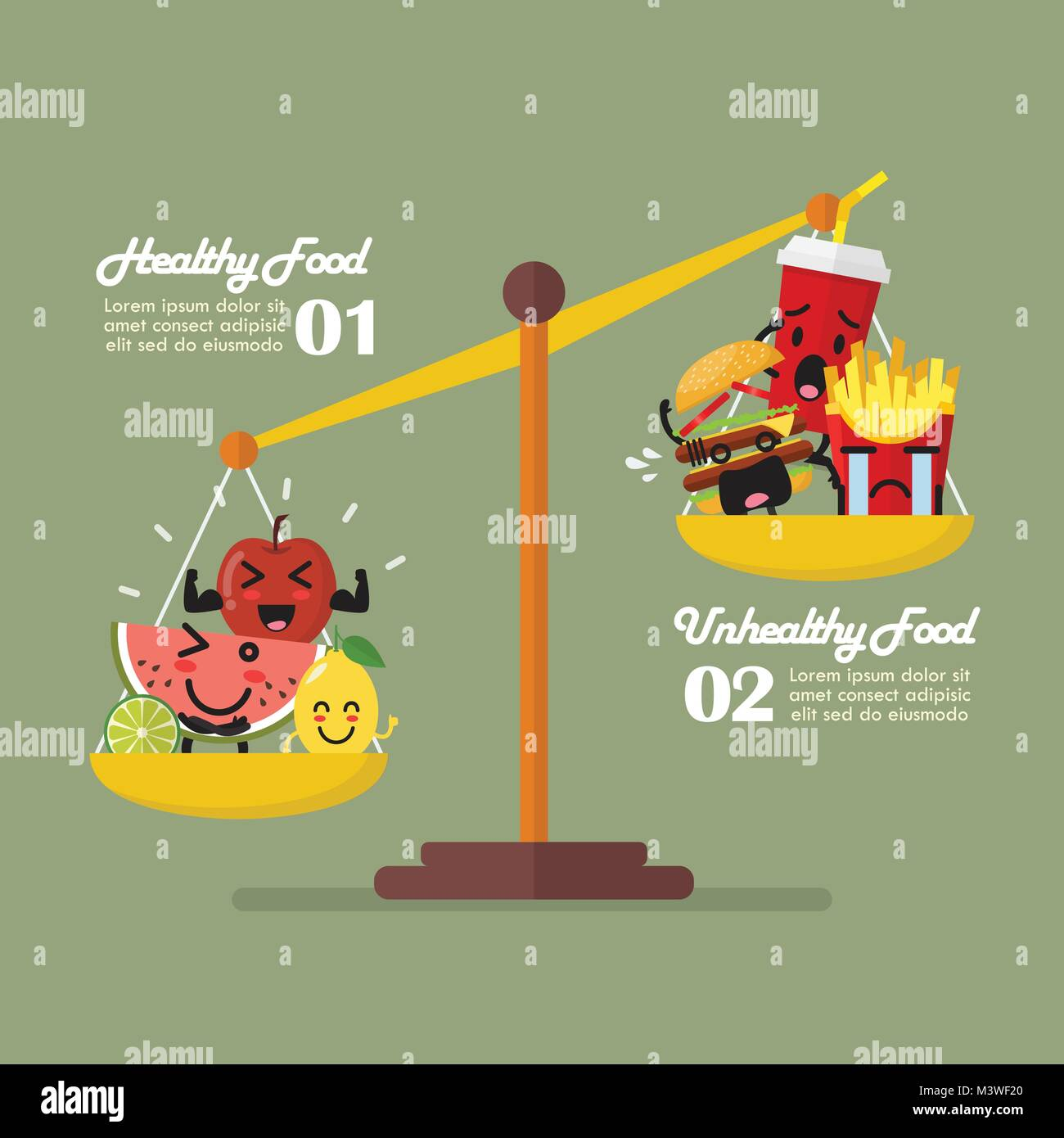 Healthy food and junk food balancing on scales infographic. healthy lifestyle concept - Stock Vector