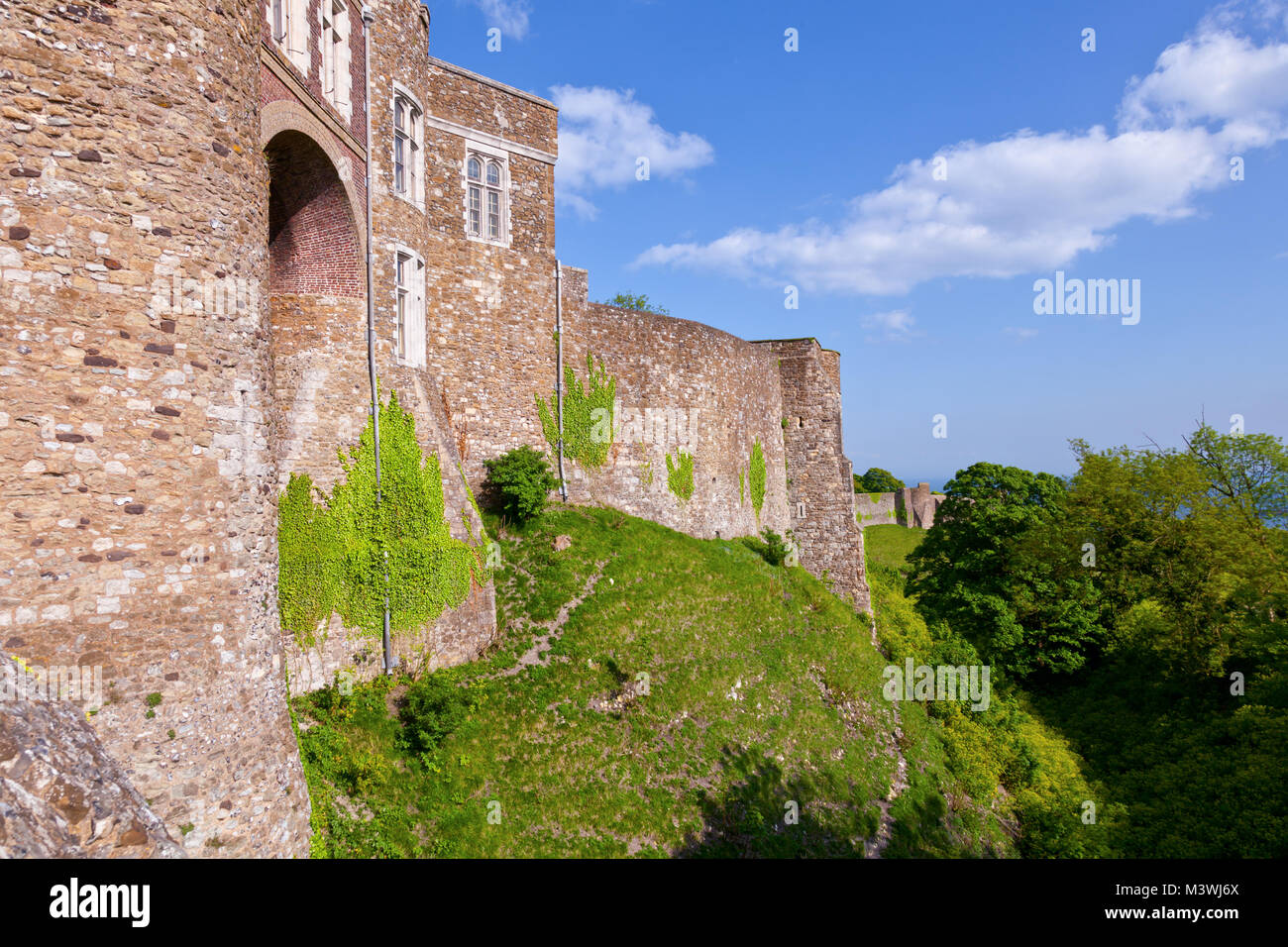 Medieval Dover Castle outer curtain wall, Kent,  Southern England, UK Stock Photo