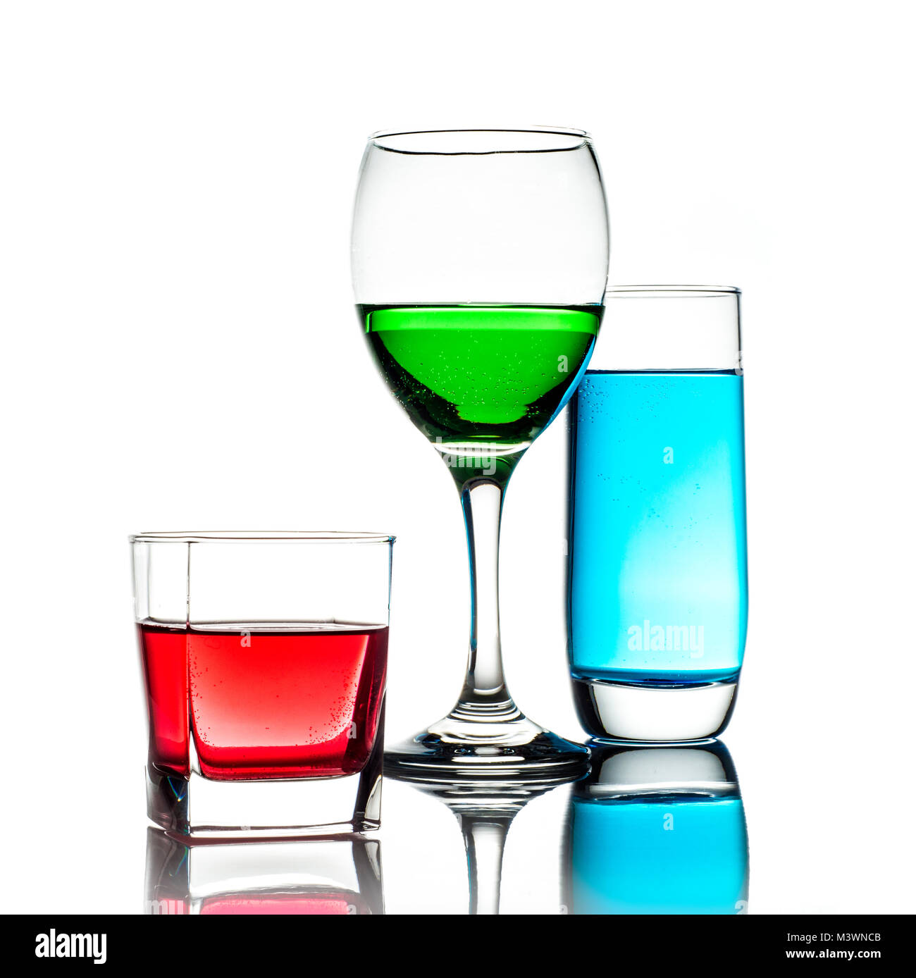 Representing the colour space RGB in a high key still-life shot. - Stock Image