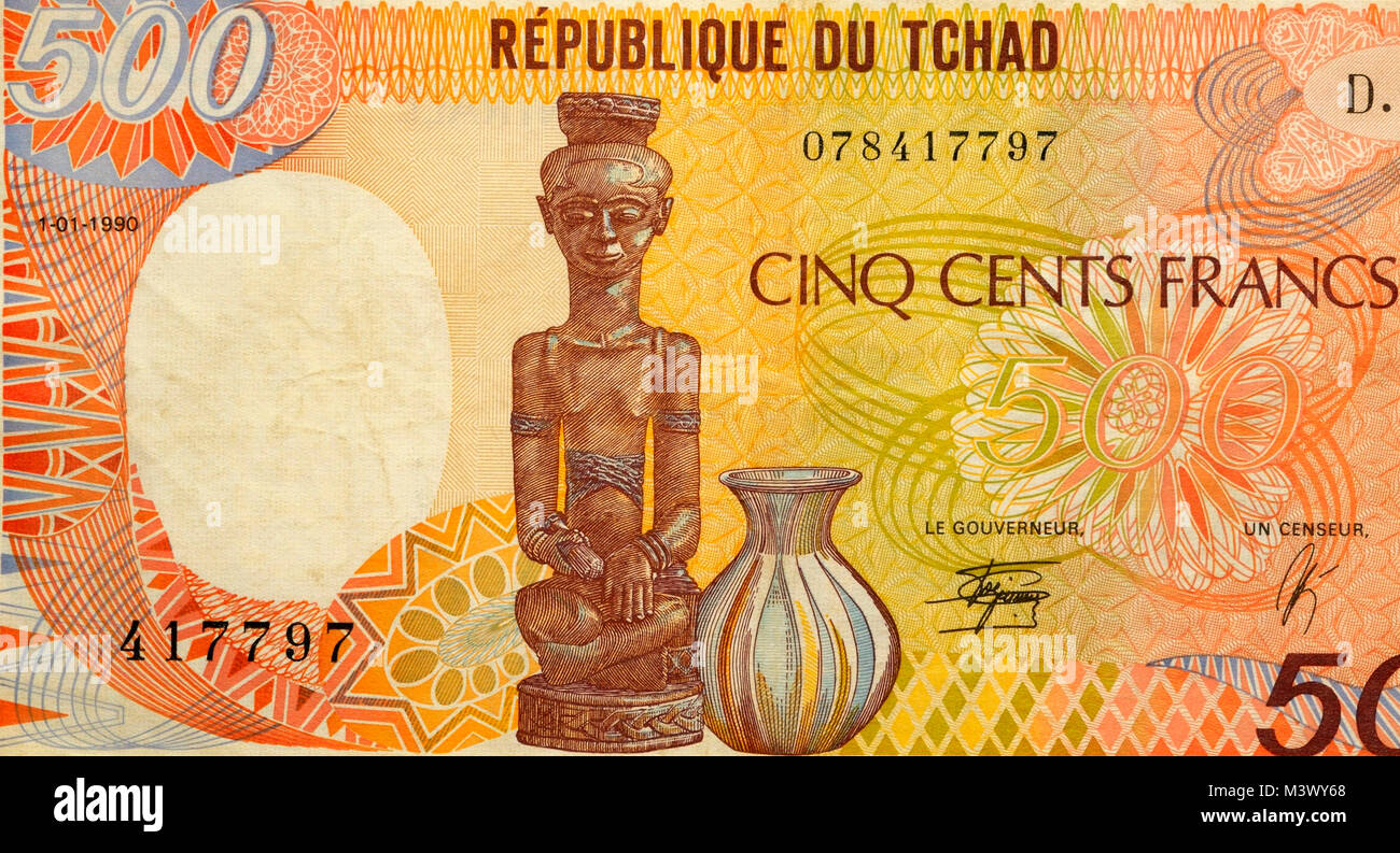 Chad Five Hundred 500 Franc Bank Note - Stock Image