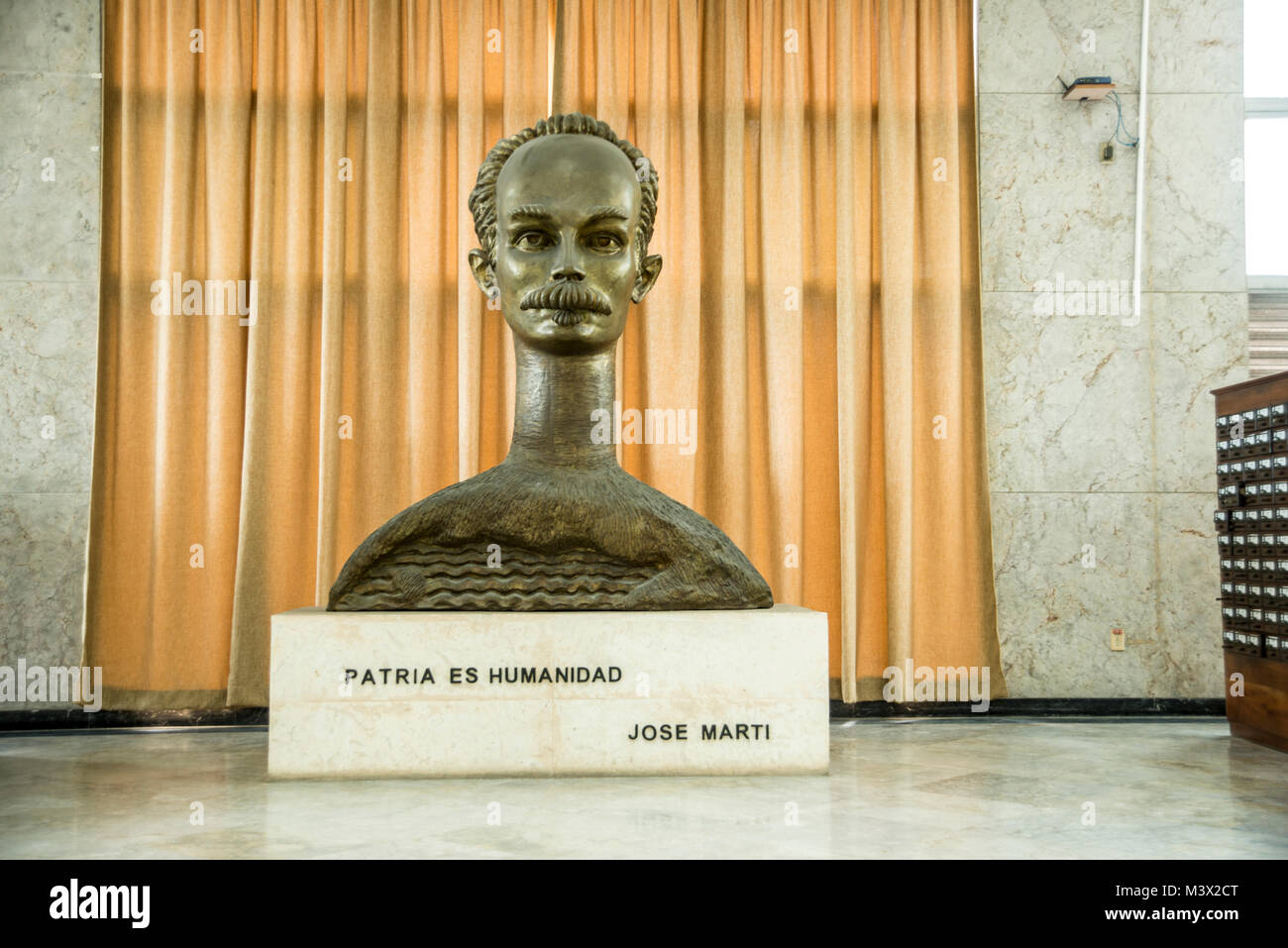 Bust of Jose Mart in the National Library of Cuba - Stock Image