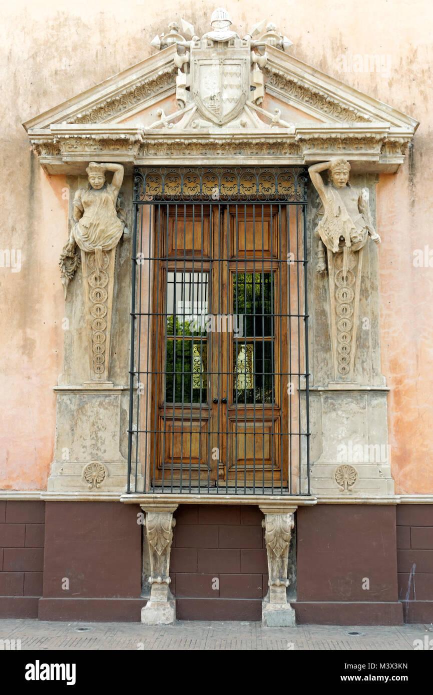 Ornate window of the 16th century Casa de Montejo on the Plaza Grande in Merida, Yucatan, Mexico Stock Photo