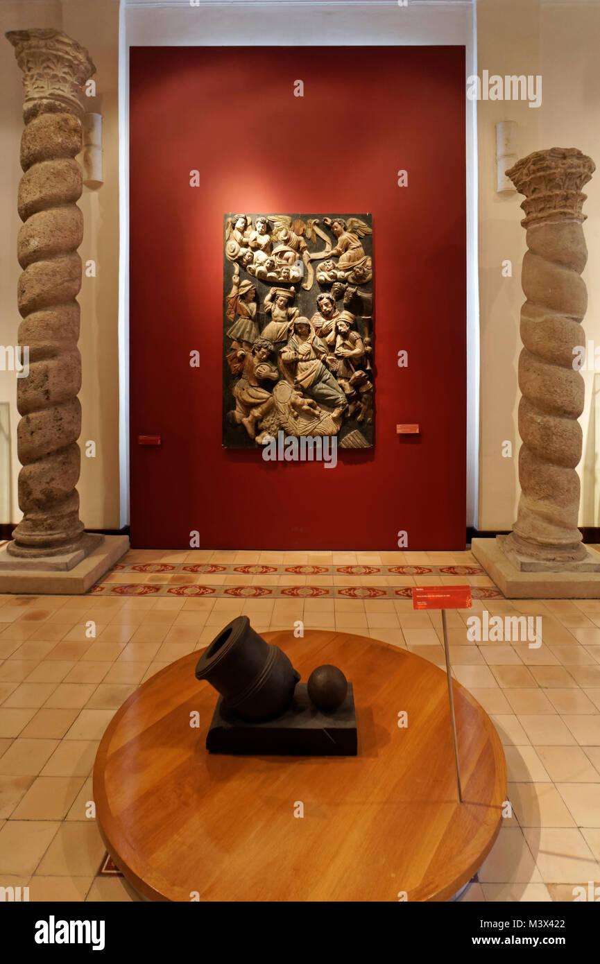 History exhibits in the City Museum or Museo de la Ciudad in Merida, Yucatan, Mexico Stock Photo