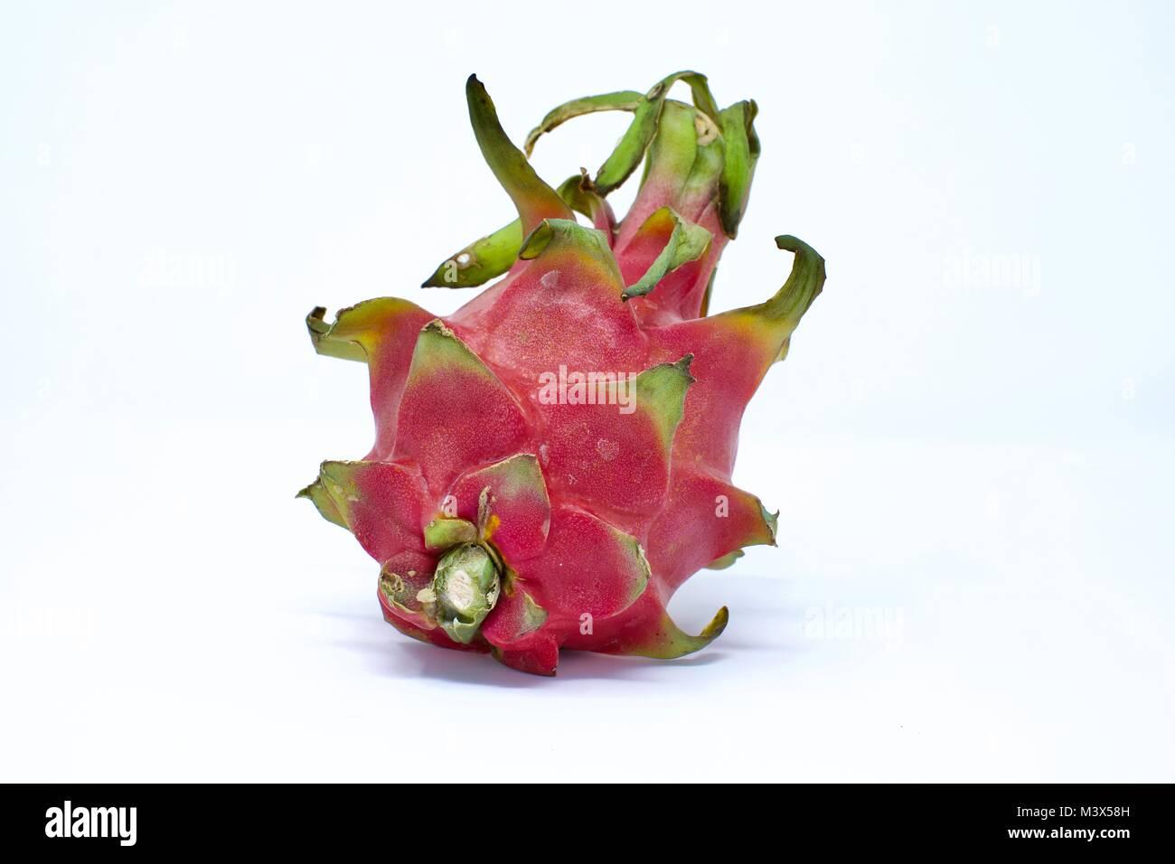 Dragon fruit (Hylocereus undatus) on a white background - Stock Image