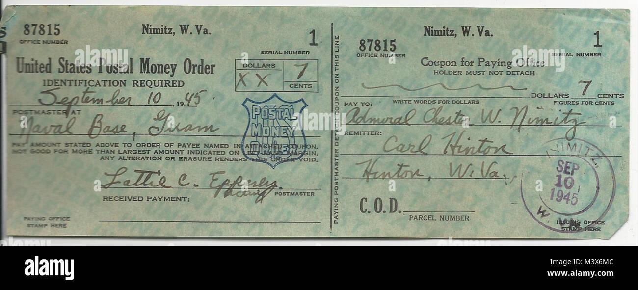 U S Postal Money Order To Chester Nimitz Naval Base Guam
