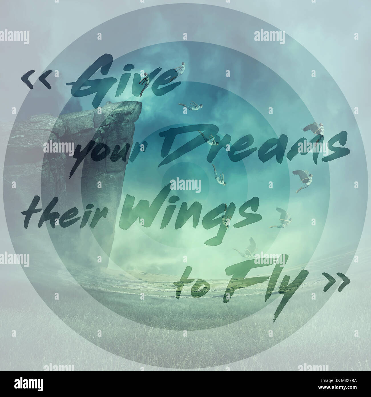 Inspirational words, give your dreams their wings to fly, and a young boy jumping from the edge of a cliff, falling - Stock Image