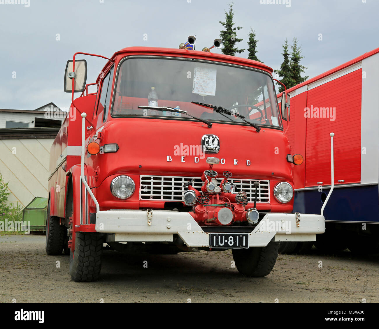 HATTULA, FINLAND - JULY 12, 2014: Vintage red Bedford EFQ1B tank truck year 1969 on display at Tawastia Truck Weekend - Stock Image