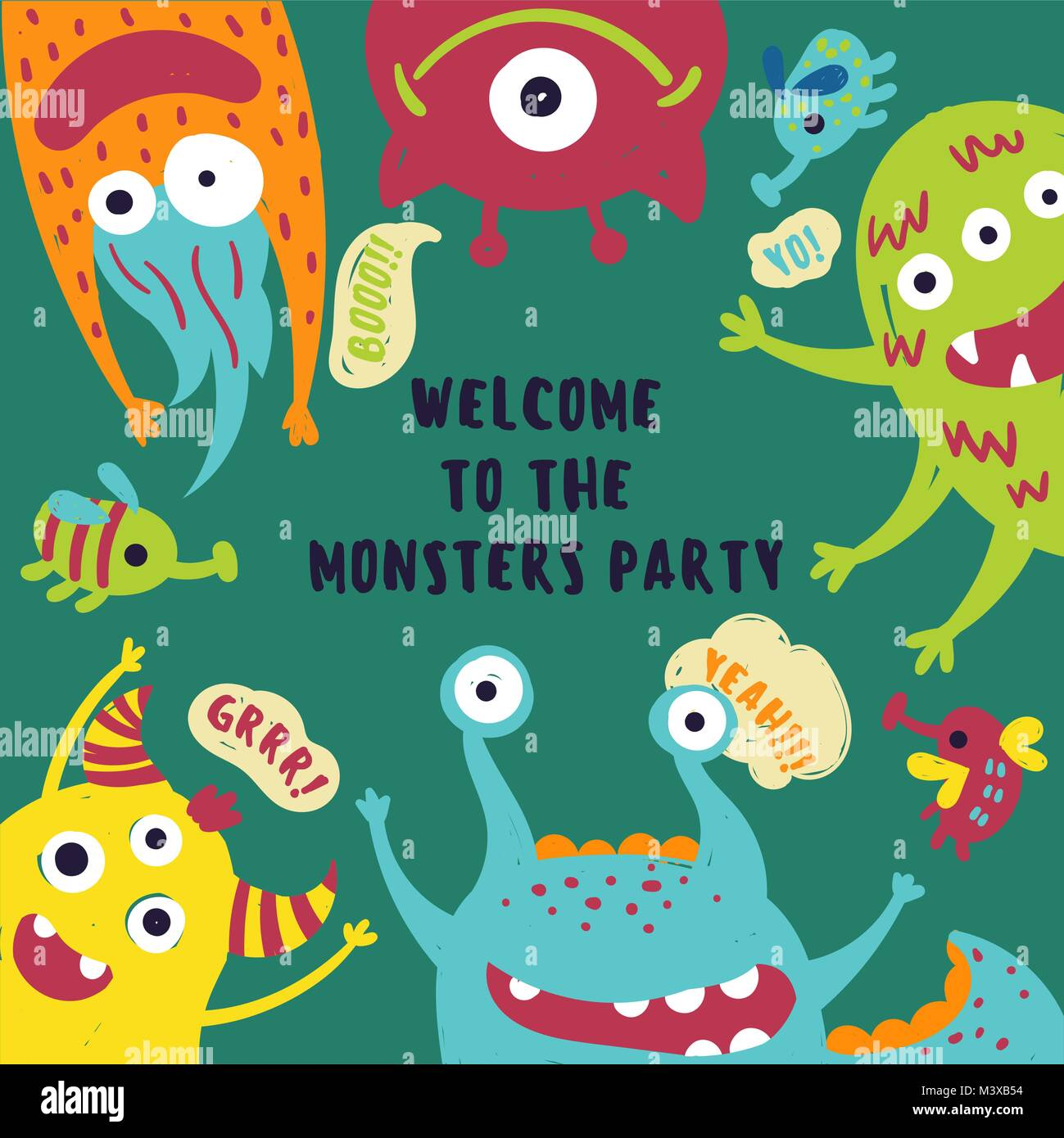 Monster Party Invitation Card With Cute Fluffy Alien Beasts