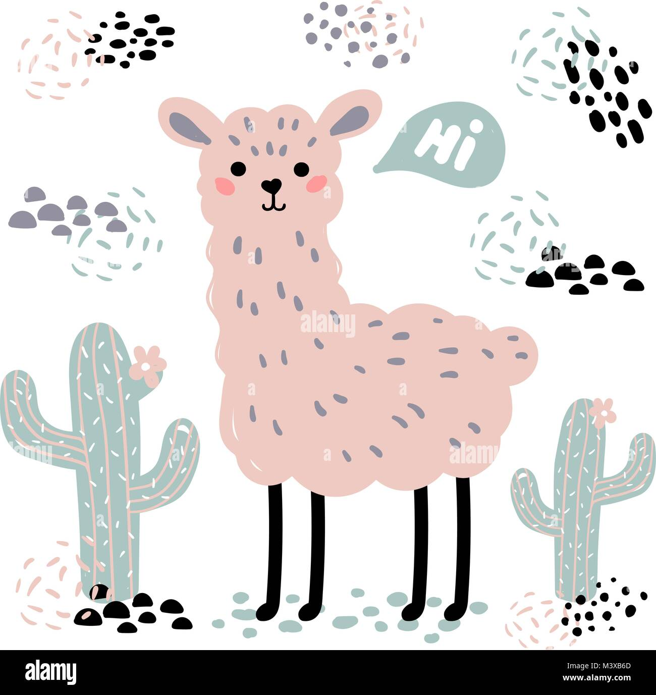 Pink lama alpaca with hi text, surrounded by desert cactuses on white background. Wild or zoo cute cartoon fluffy Stock Vector