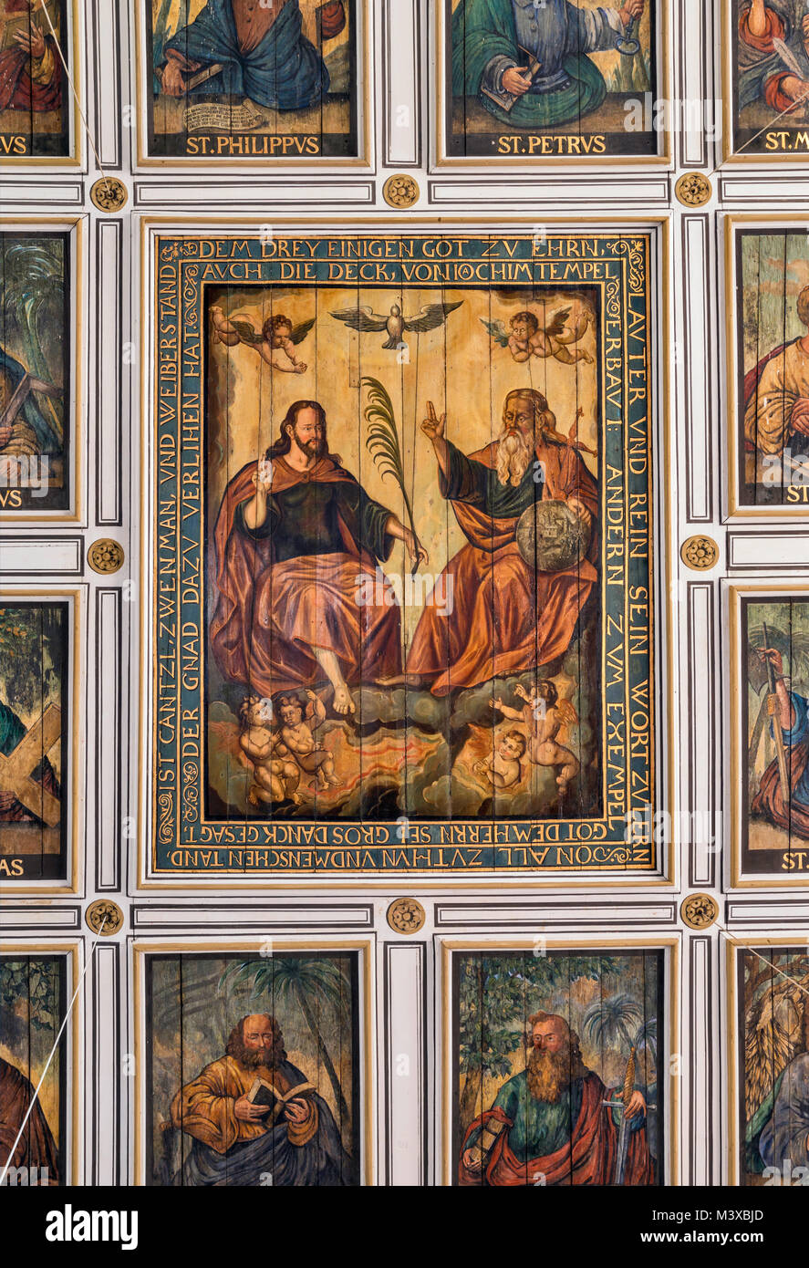Holy Trinity painting on ceiling at St Annekirche (Church of St Anne) in Lutherstadt Eisleben, Saxony-Anhalt, Germany - Stock Image