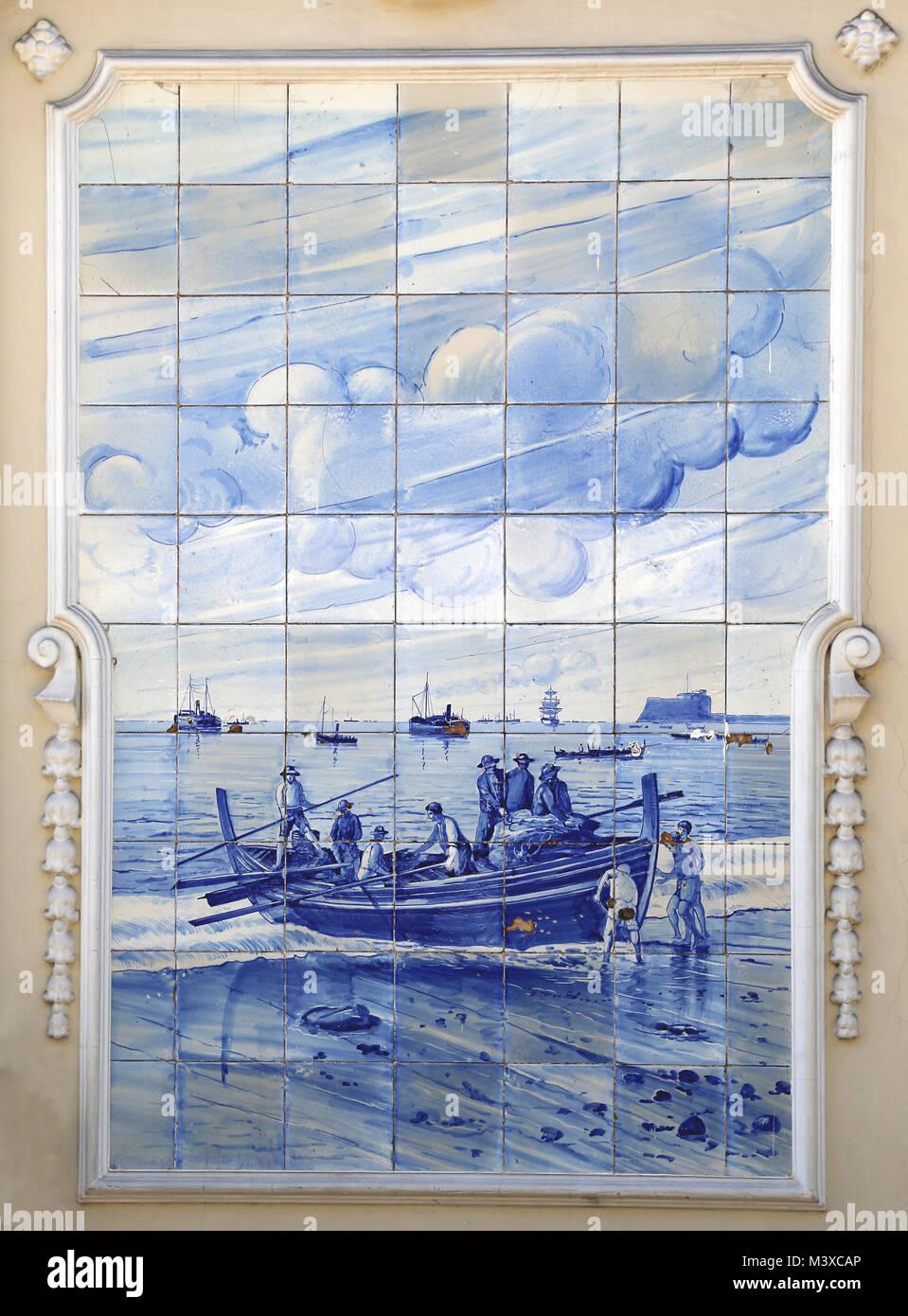 Azulejo of The Ritz Cafe. Ceramic glazed blue tiles depicting rural scene. Around 1908. Funchal, Madeira Island. - Stock Image