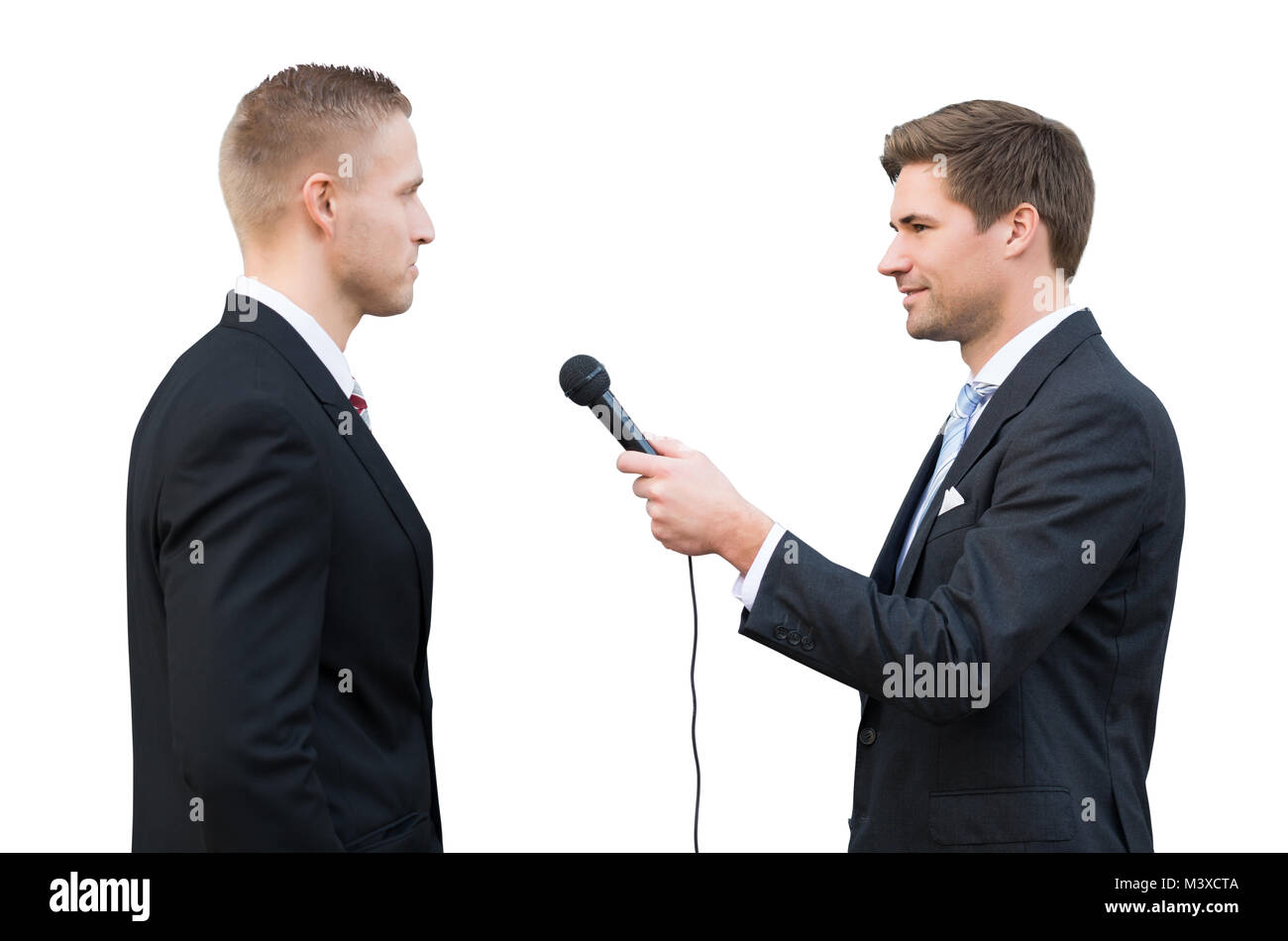 News Reporter Asking Questions To Young Businessman On White Background - Stock Image