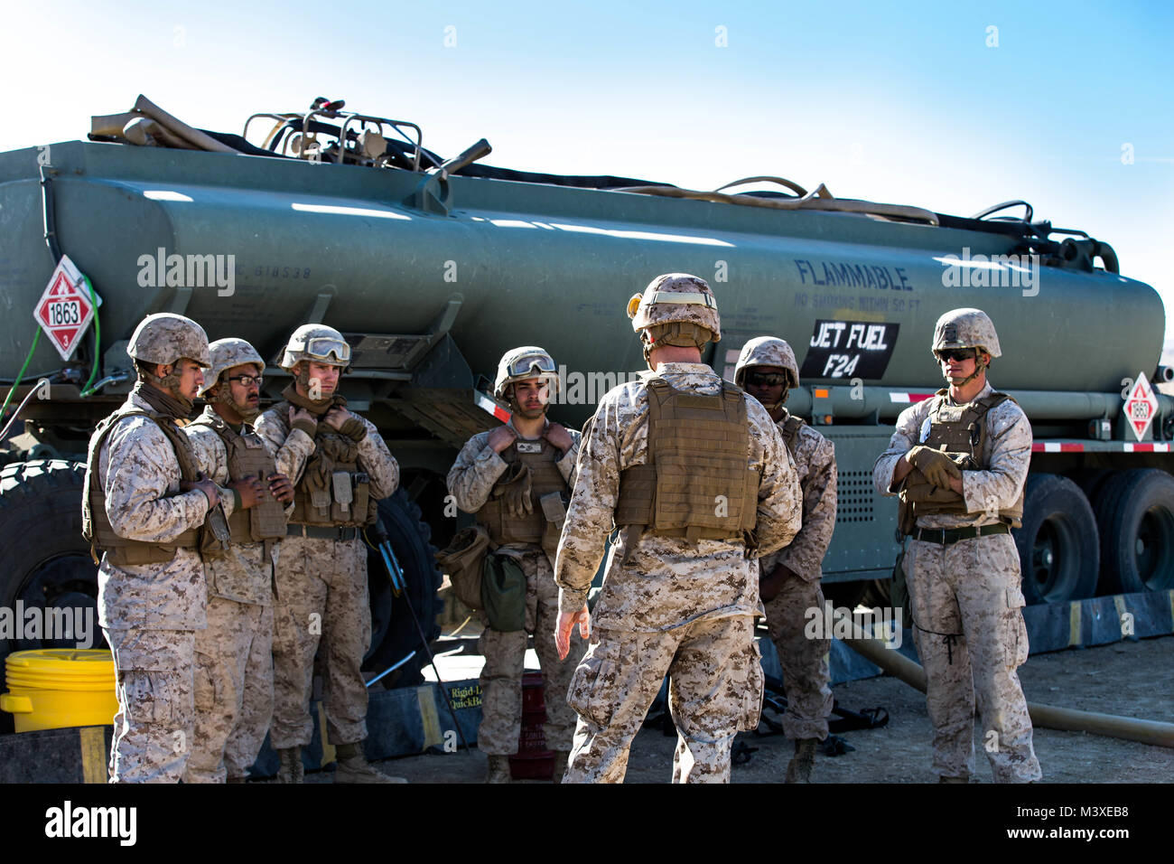 Marines with Marine Wing Support Squadron 371 plan for next refueling at the Forward Arming and Refueling Point Stock Photo