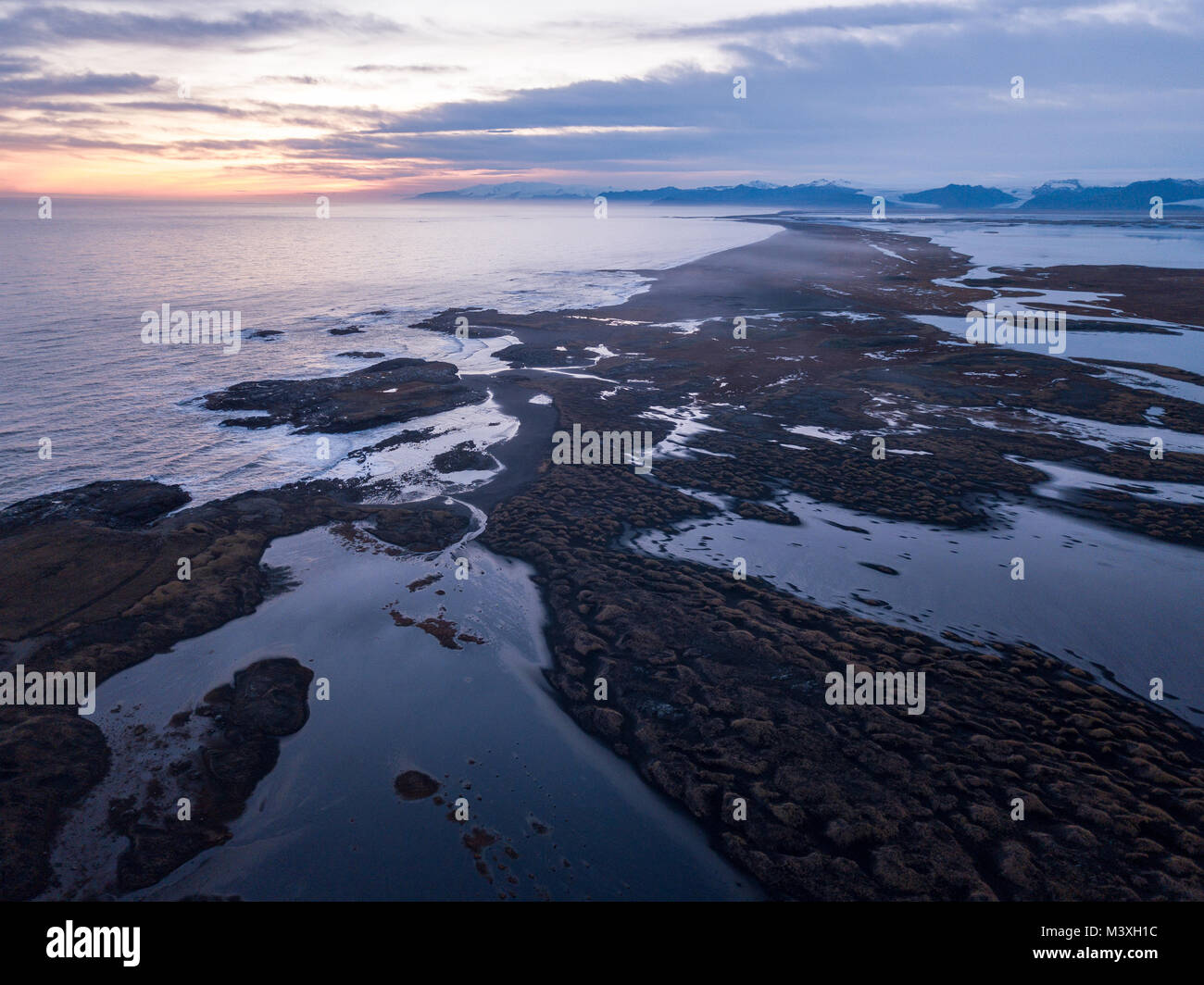 Stokksnes and the Vestrahorn Southern Iceland beautiful Mountain and Landscape drone shot arial view Stock Photo