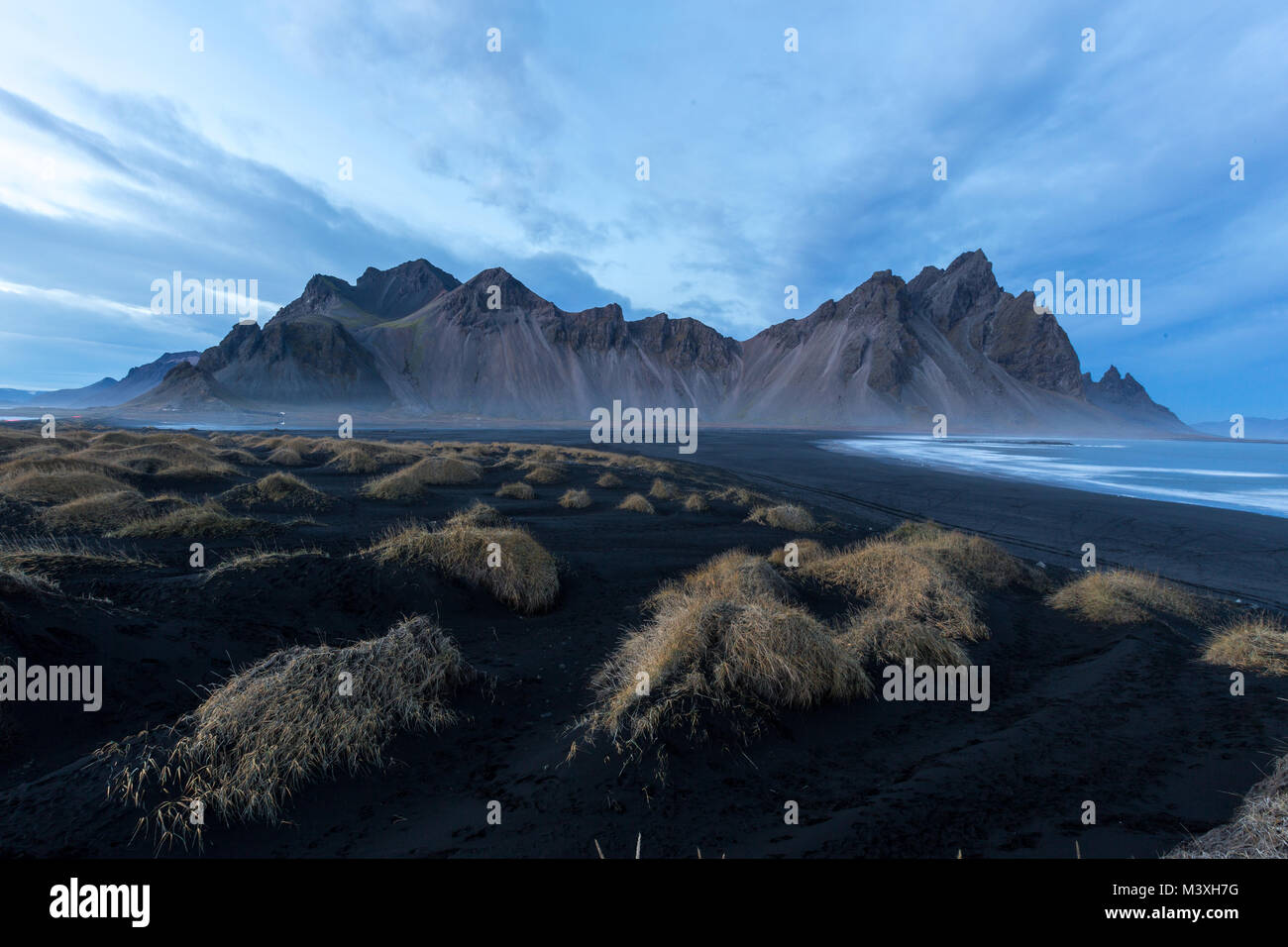 Stokksnes and the Vestrahorn Southern Iceland beautiful Mountain and Landscape Stock Photo