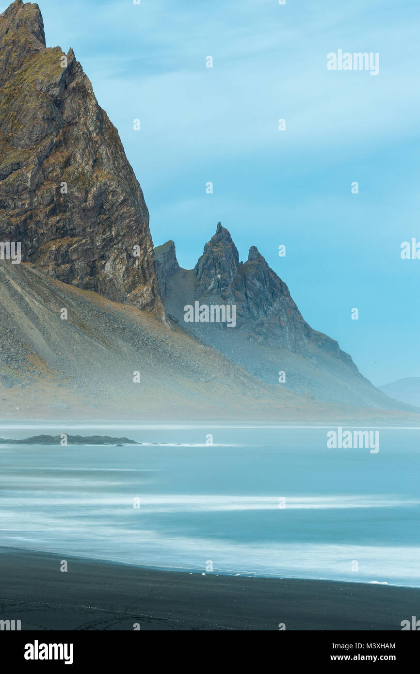 Stokksnes and the Vestrahorn Southern Iceland beautiful Mountain and Landscape - Stock Image