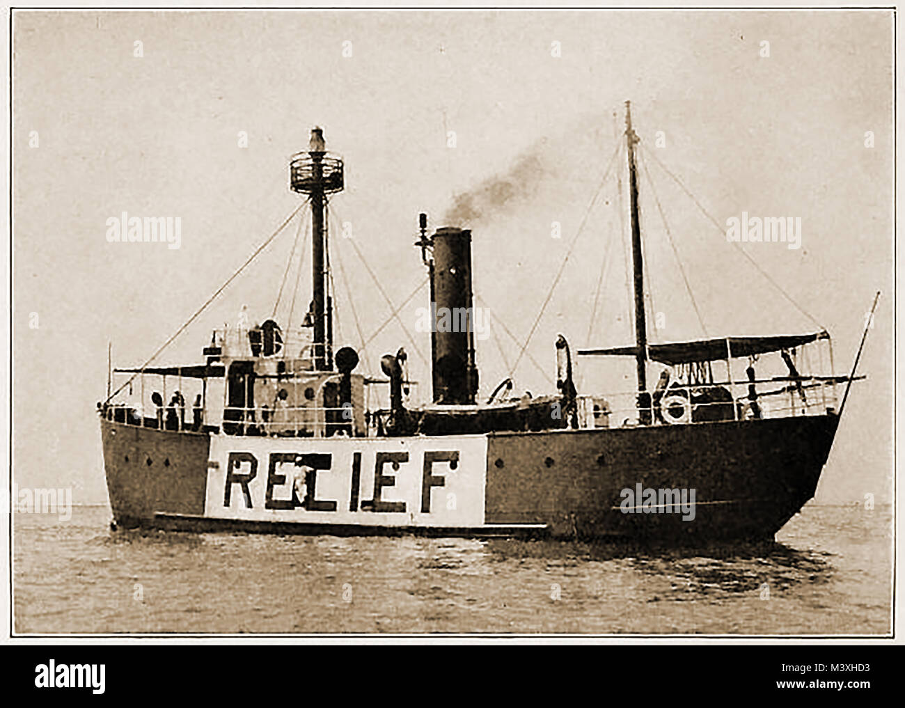 American Lighthouses and Navigation Aids -  A  'Relief' (reserve) light vessel No. 103, Great Lakes, USA - Stock Image