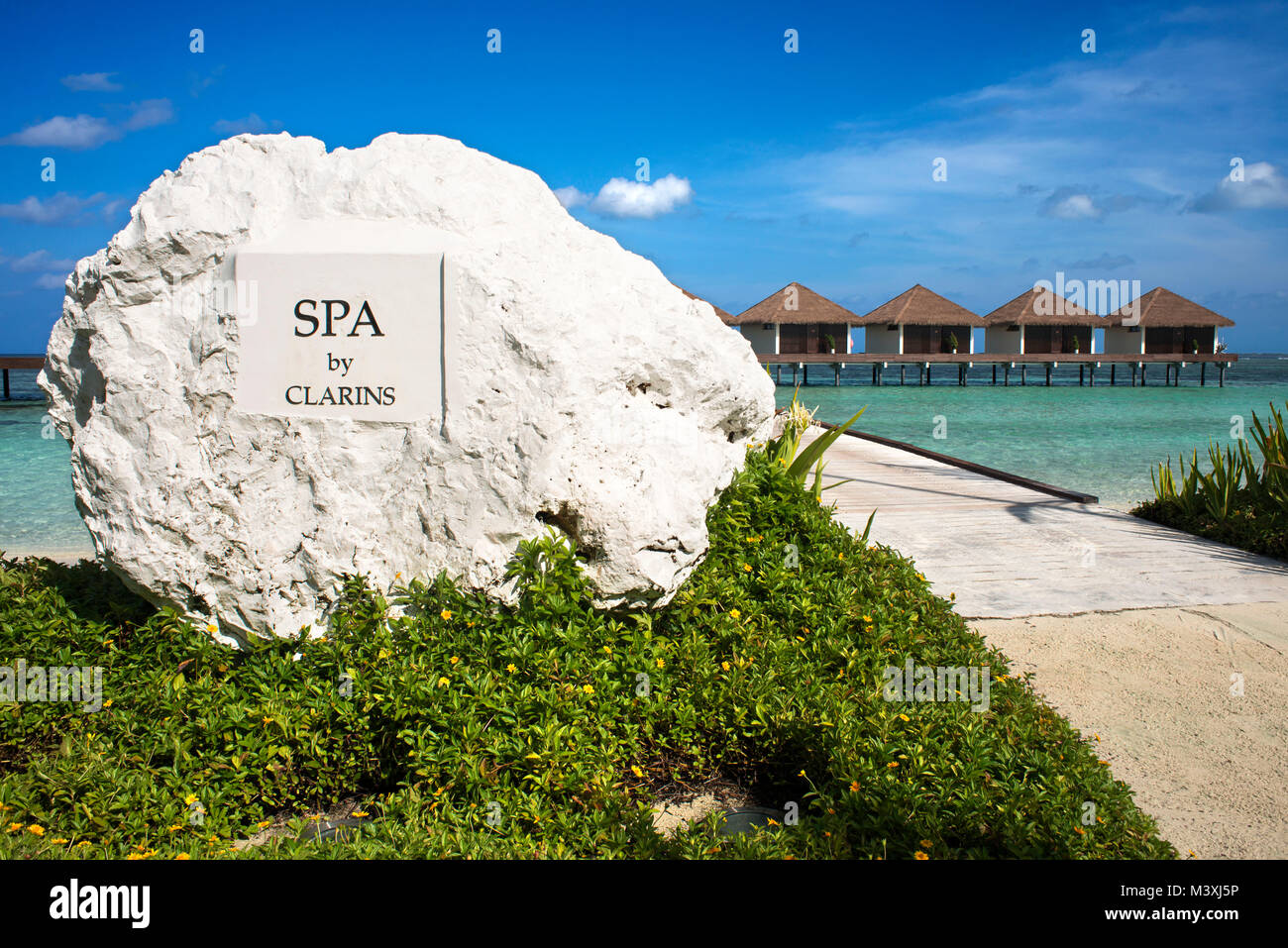 The Residence Hotel and Resort spa by Clarins, Gaafu Alifu Atoll. Maldives Islands. - Stock Image