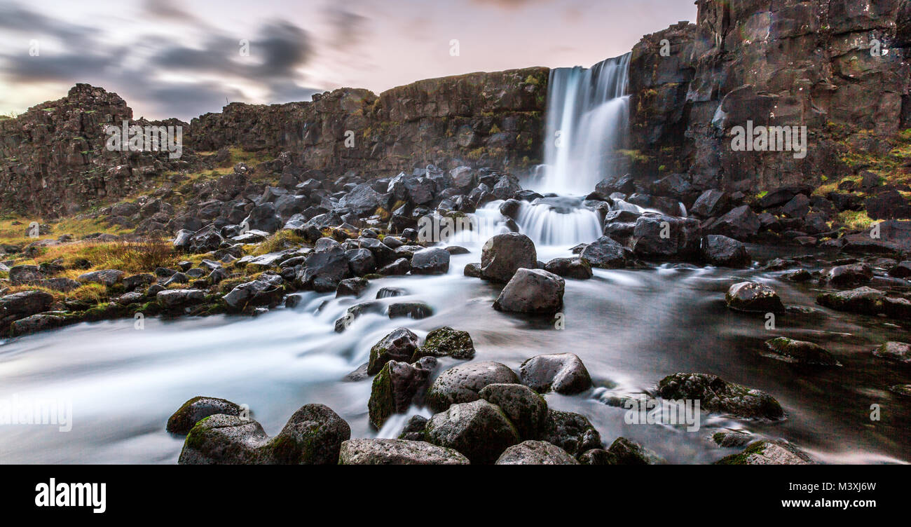 Beautiful Waterfall Oxarafoss in southern Iceland europe - Stock Image